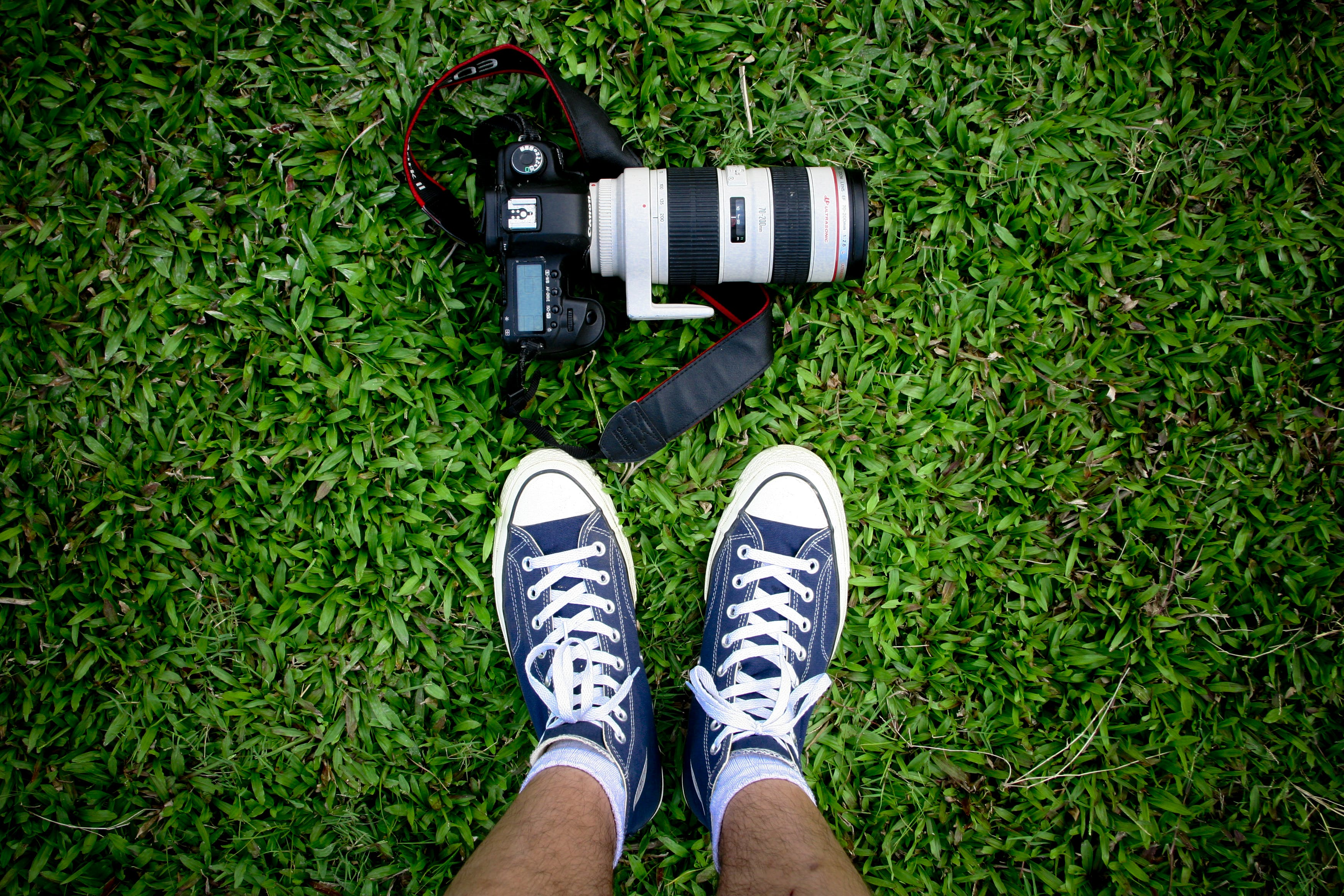 Top View Photo of Camera Near Shoes