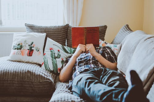 Person Laying on Sofa While Reading Book