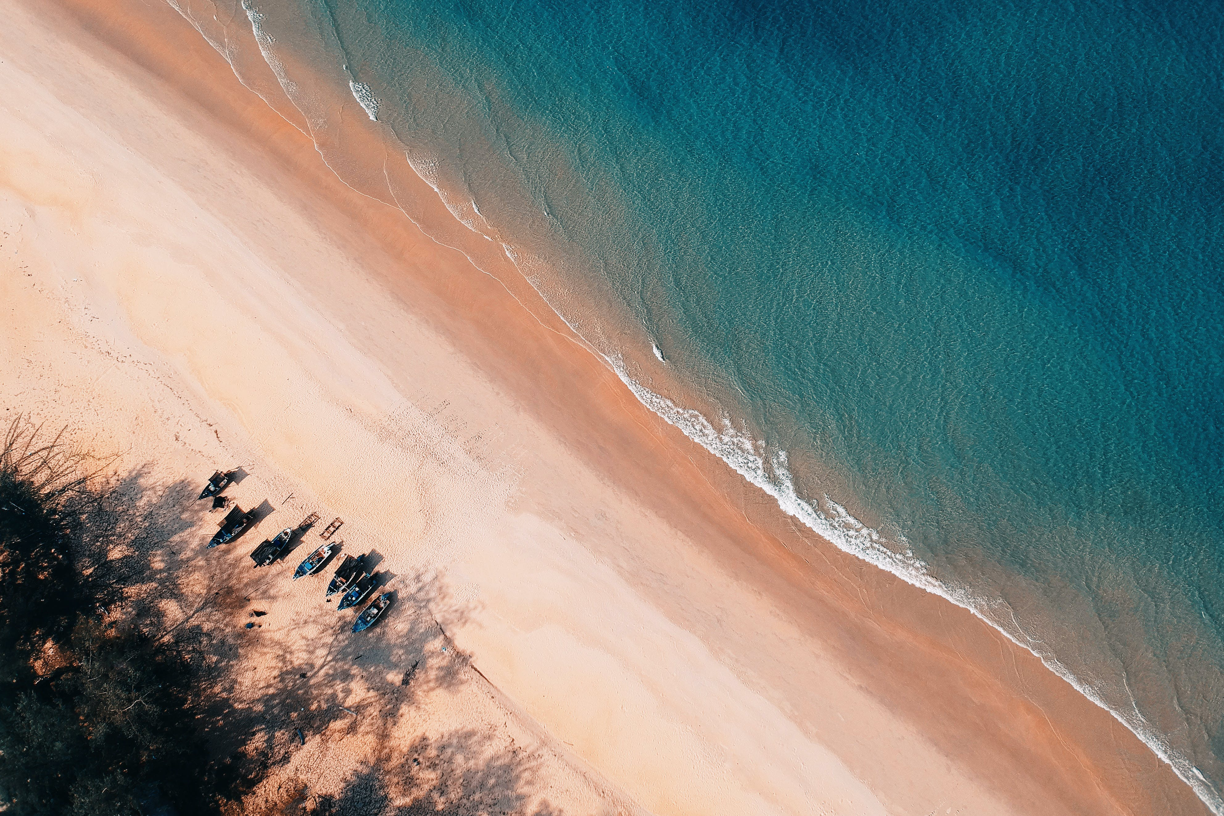 Aerial Photo of Seashore With Calm Sea