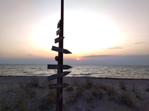 Ilmainen kuvapankkikuva tunnisteilla auringonlasku, hiekkaranta, kyltti, mustameri