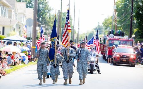 Free stock photo of American flag, military uniform, parade