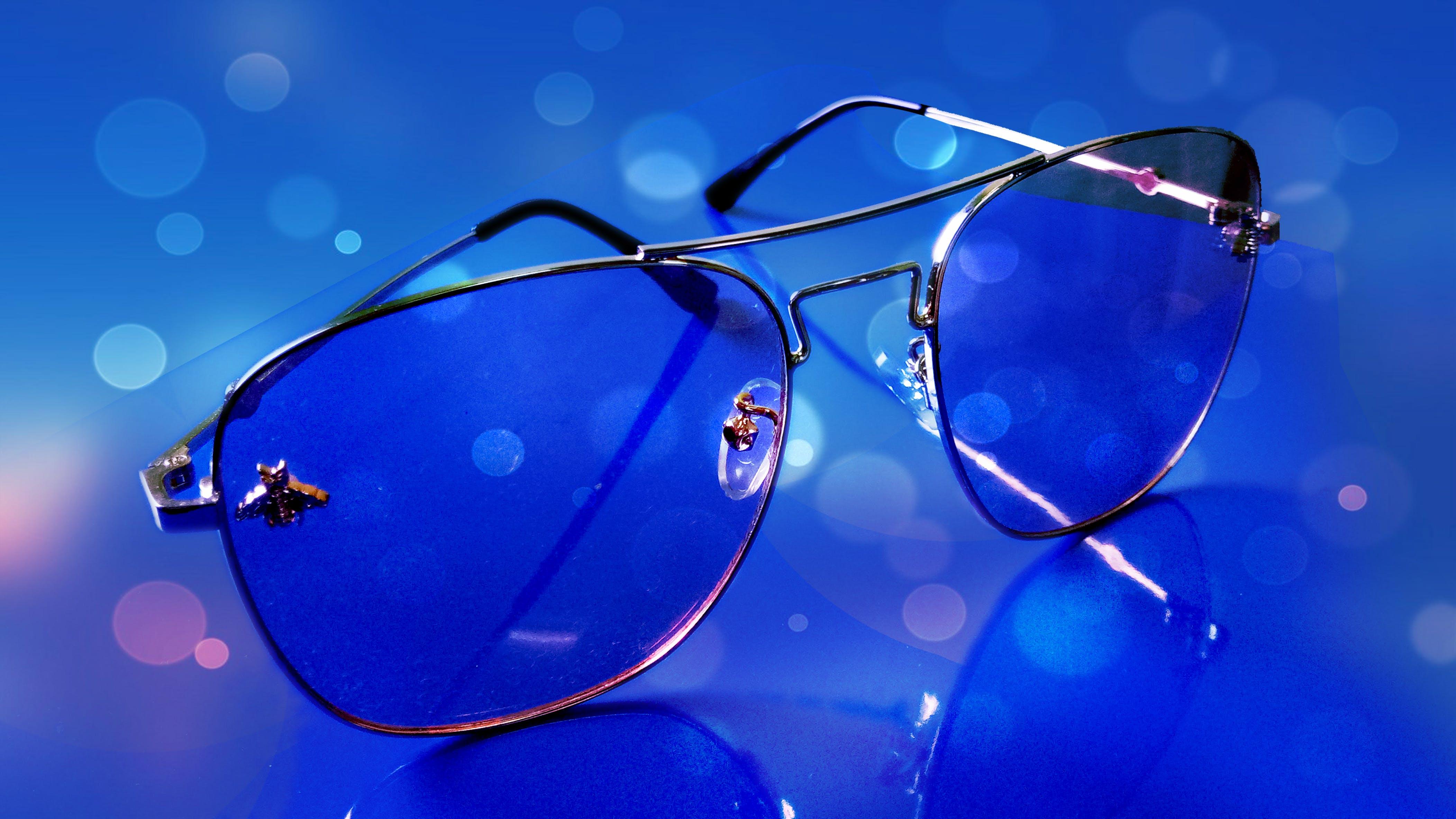 Free stock photo of sun glasses, blue background
