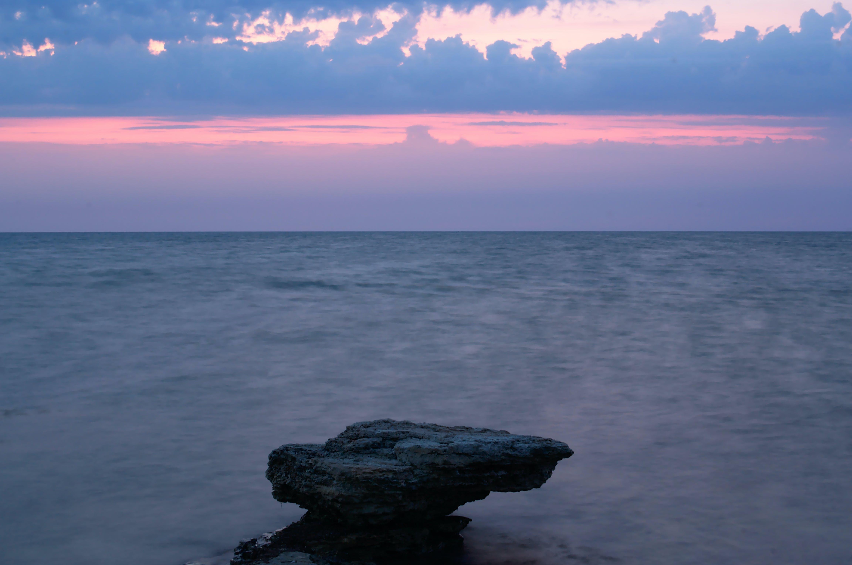 Foto stok gratis laut Hitam, matahari terbenam
