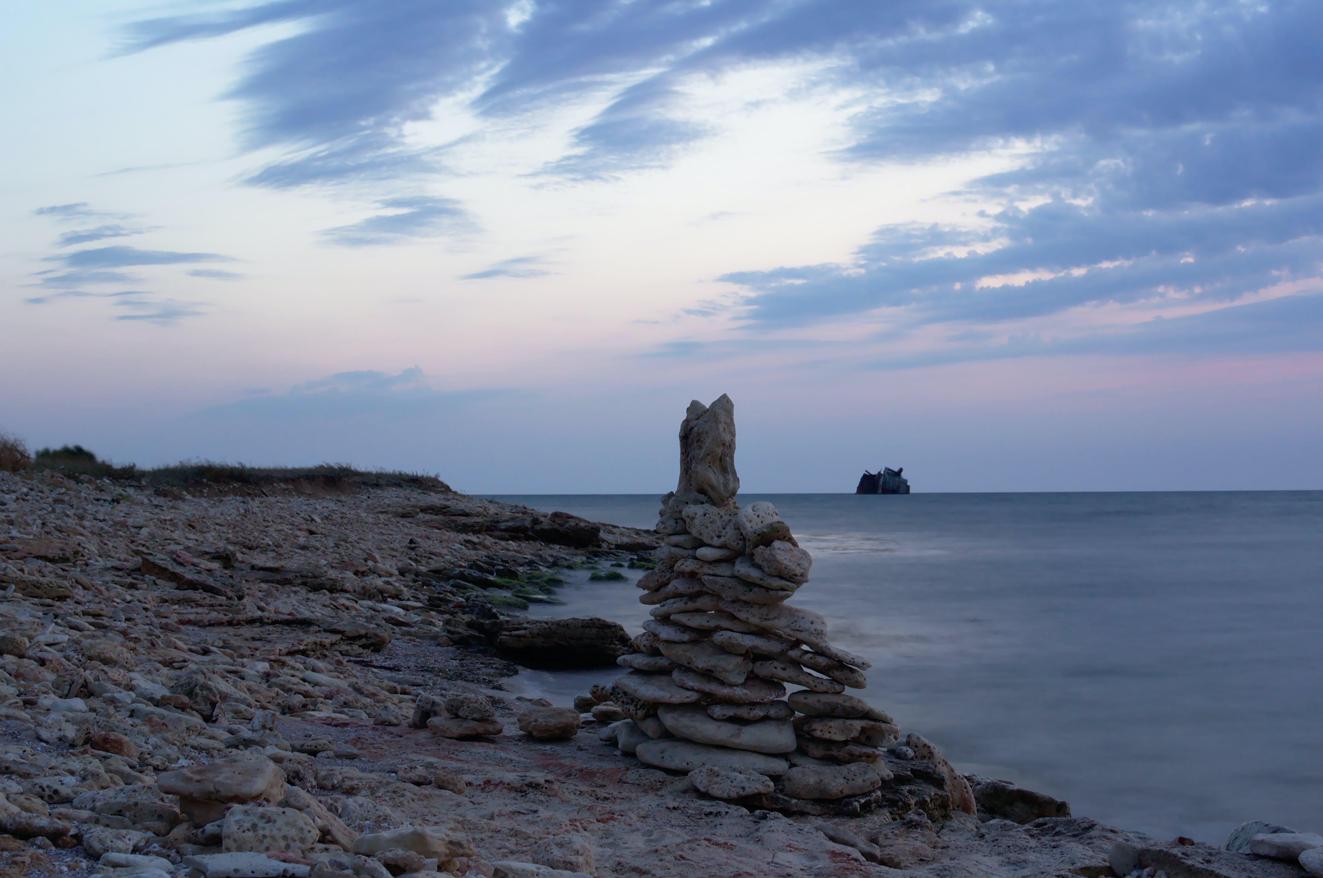 Foto stok gratis batu, Kecelakaan kapal, laut Hitam, matahari terbenam