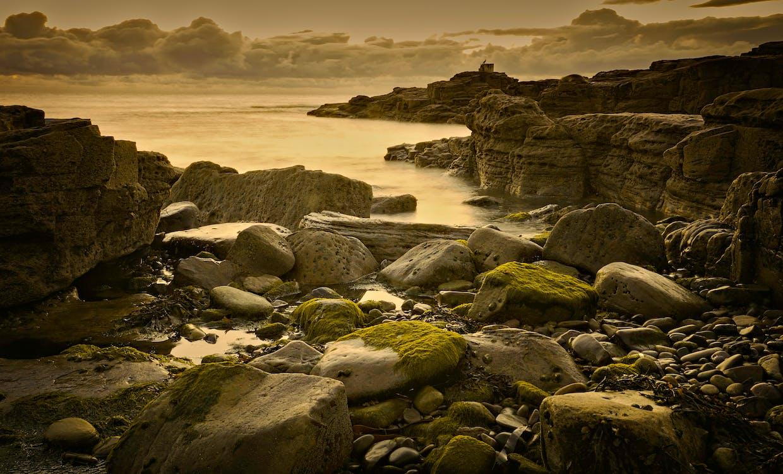 avond, Bemoste rotsen, blikveld