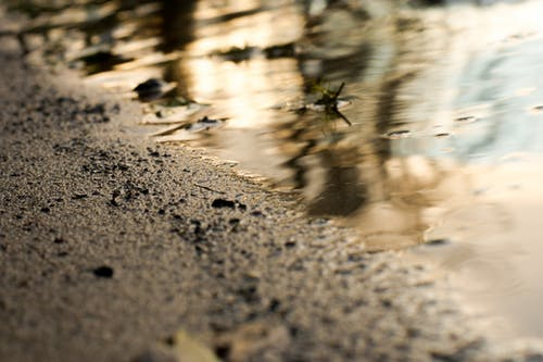 Foto stok gratis air, dam, matahari terbenam, pasir