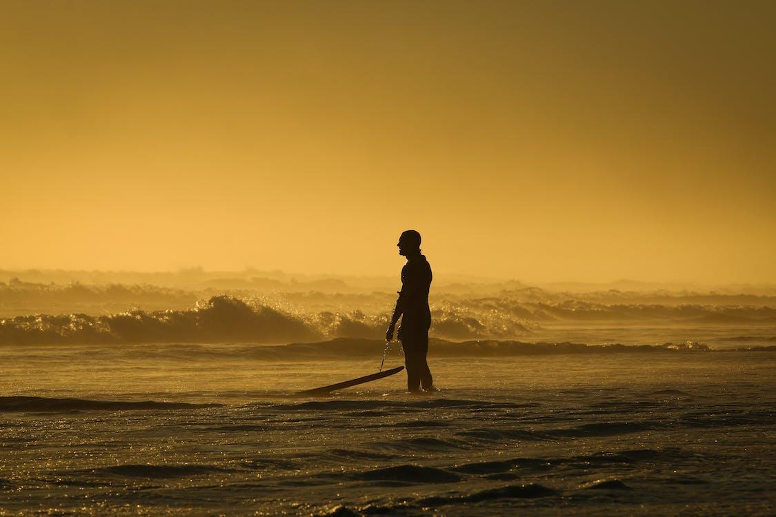 backlit, berselancar, gelombang