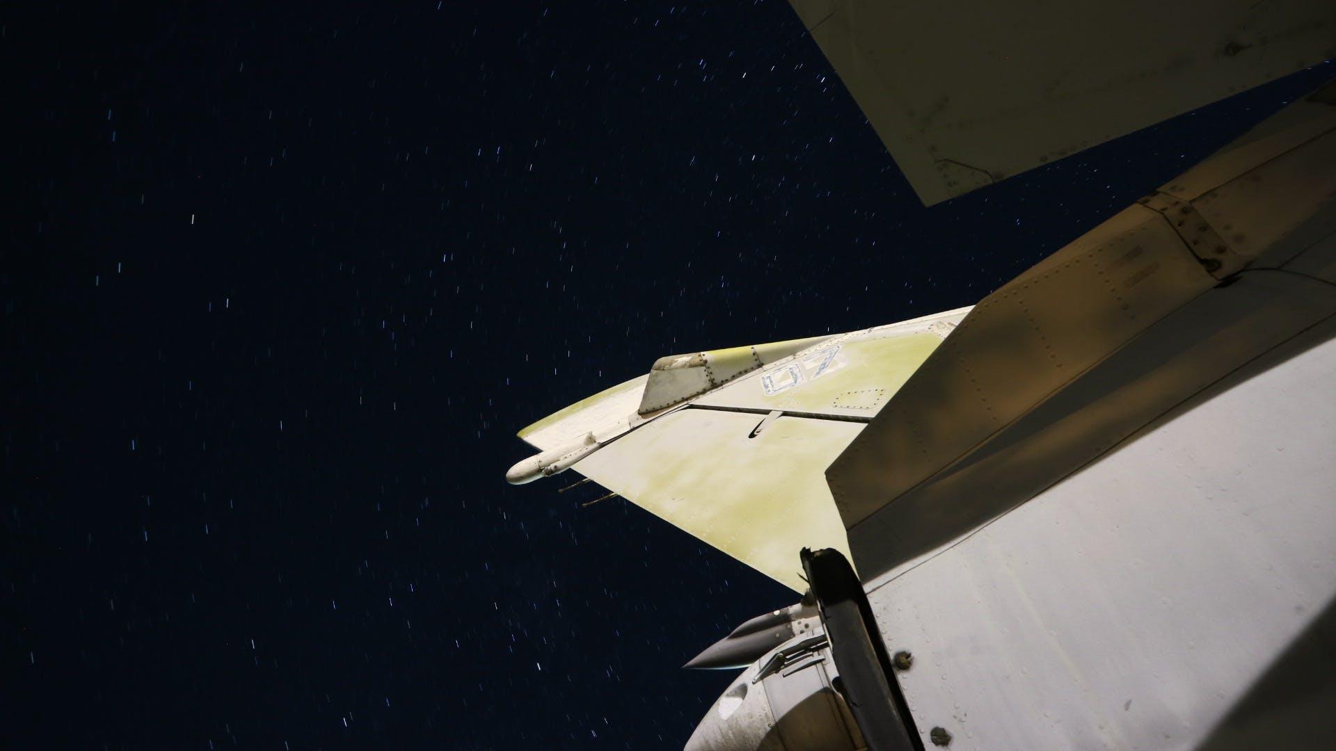 Free stock photo of airplane, black, night, night shooting