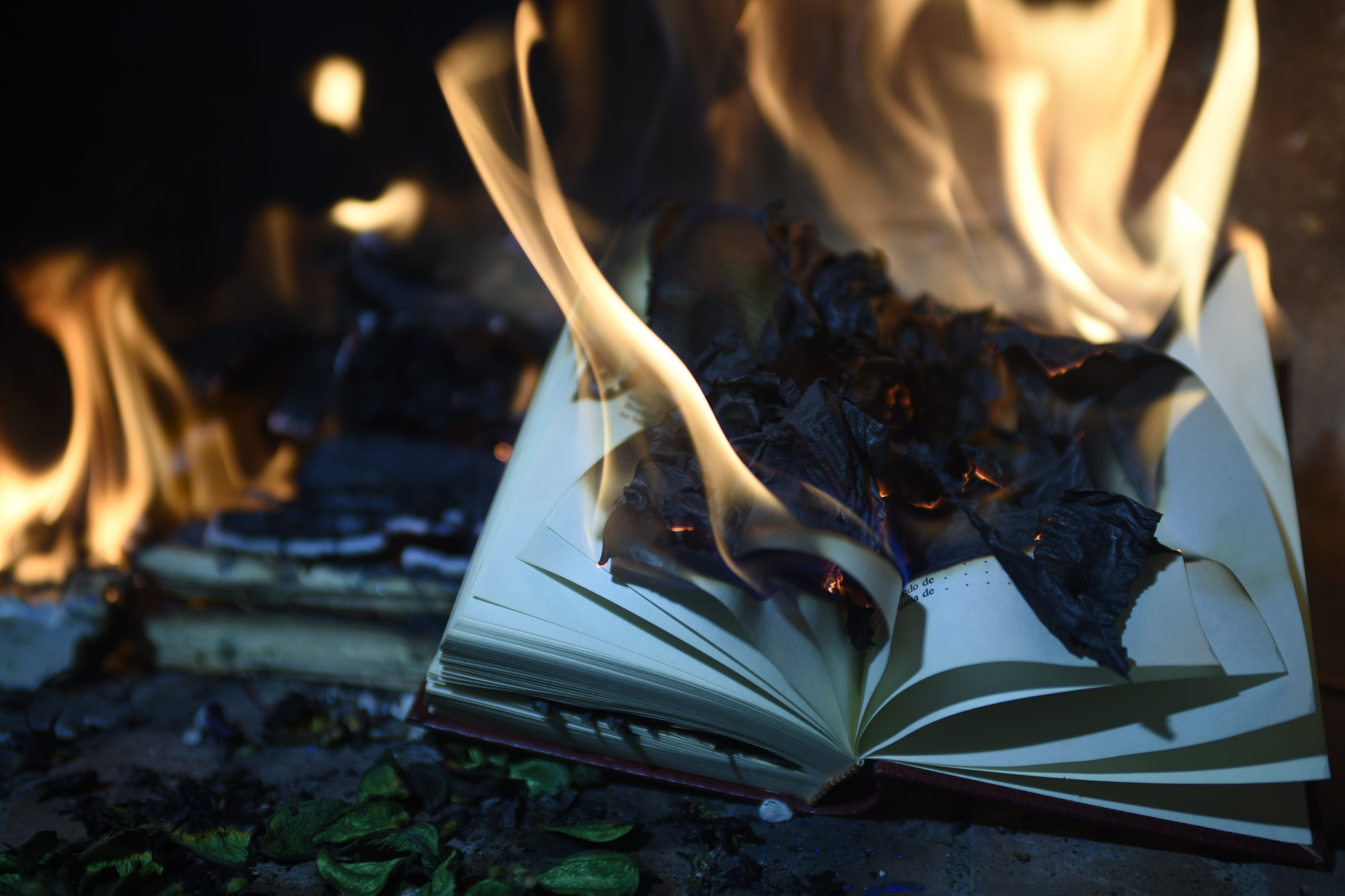 Burning Book Page