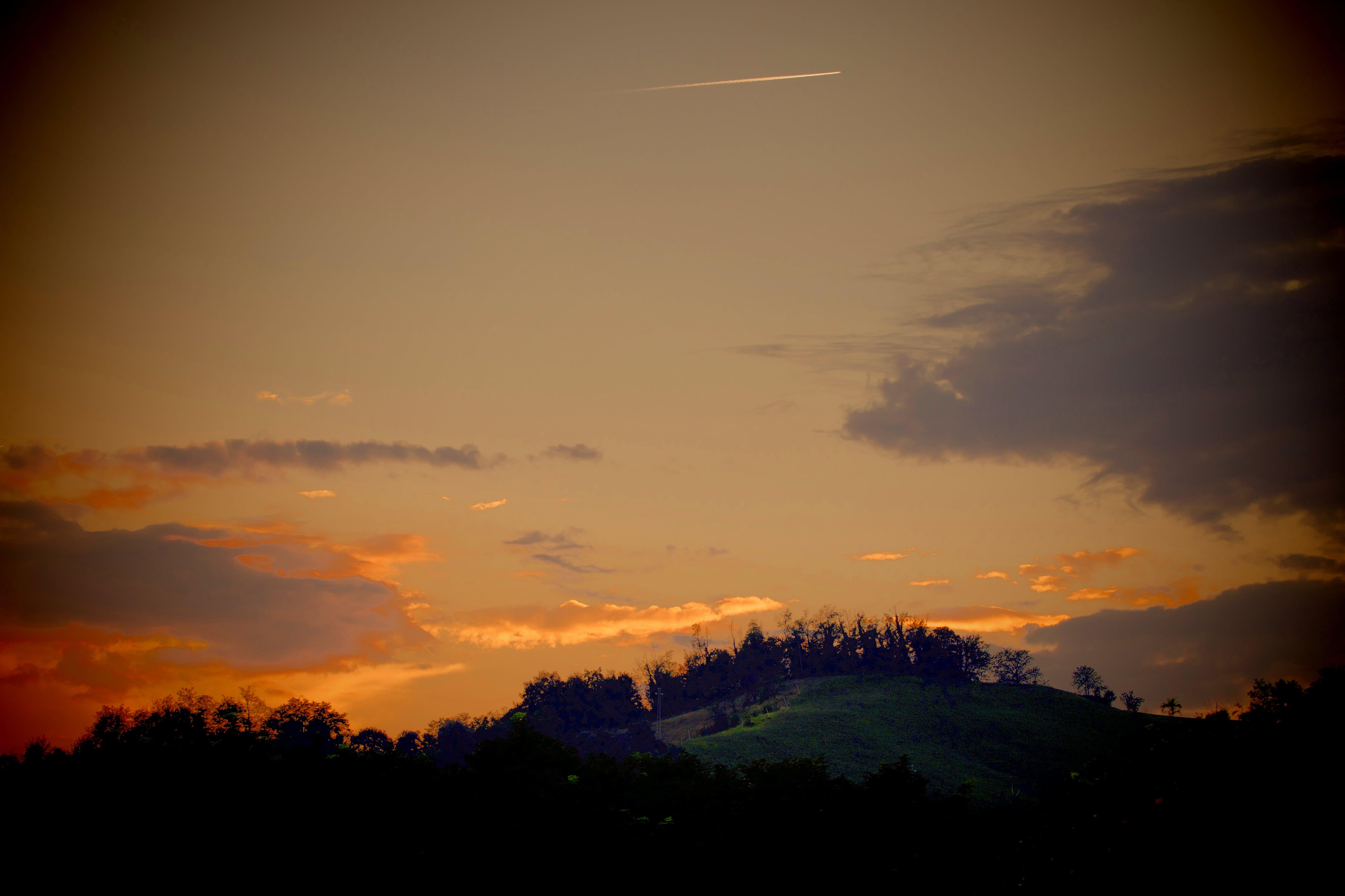 αεροπλάνο, βουνό, γαλάζιος ουρανός