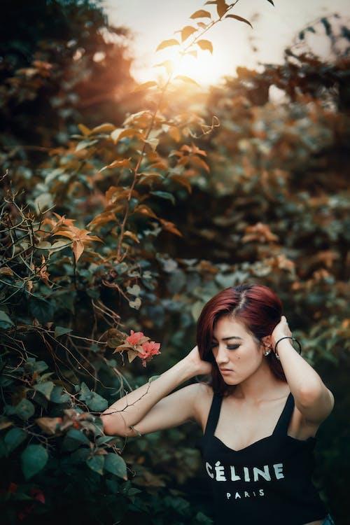 азиатка, волос, волосы