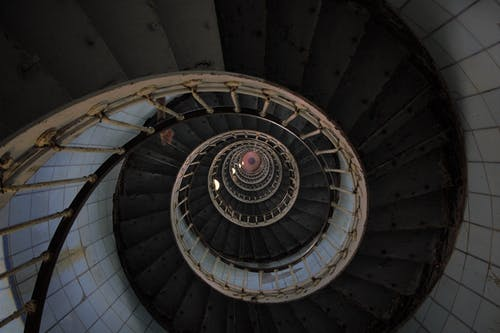 High Angle Photo of Spiral Stairs