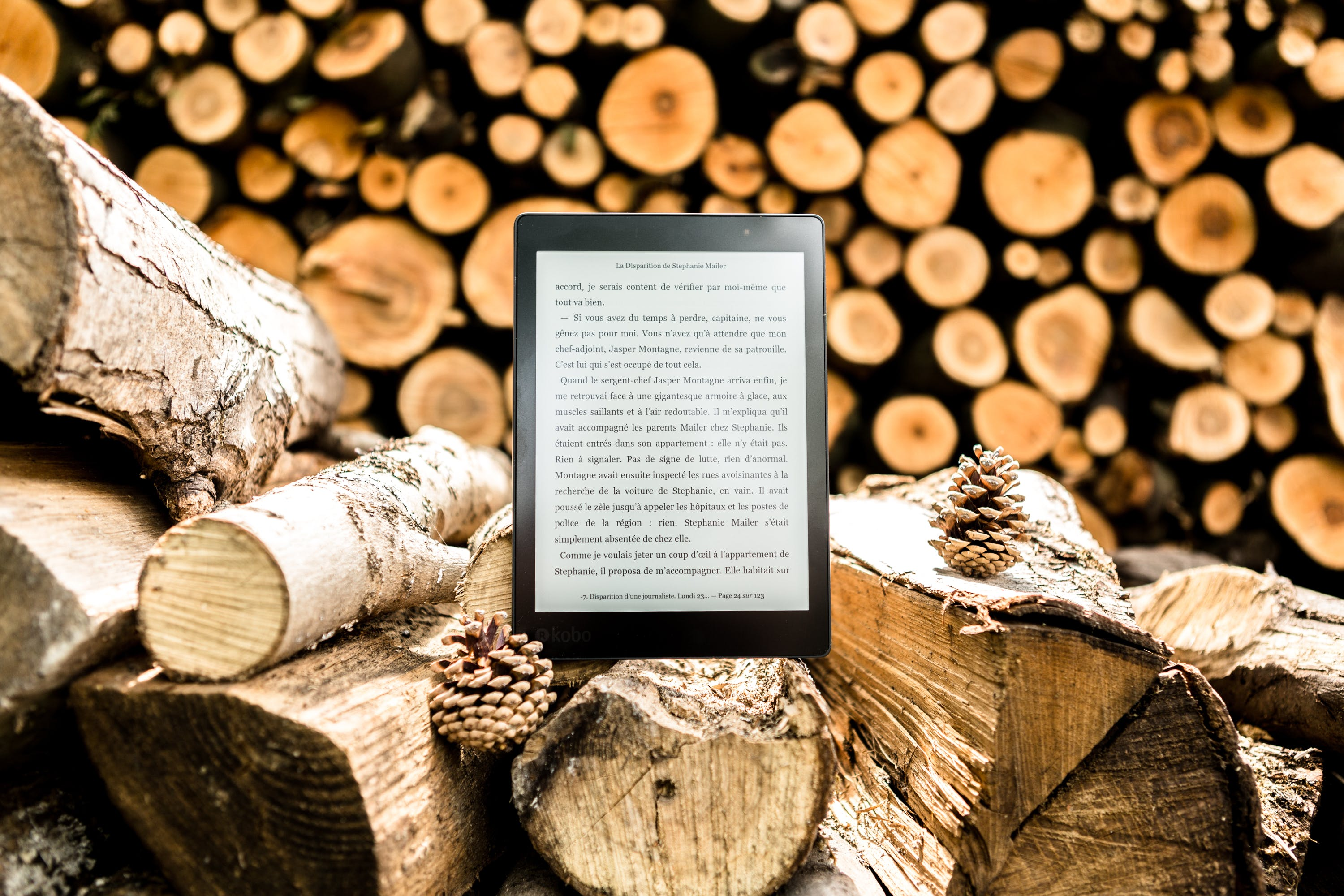 Black E-book Reader on Brown Tree Logs