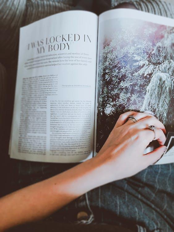 blad, hånd, magasin