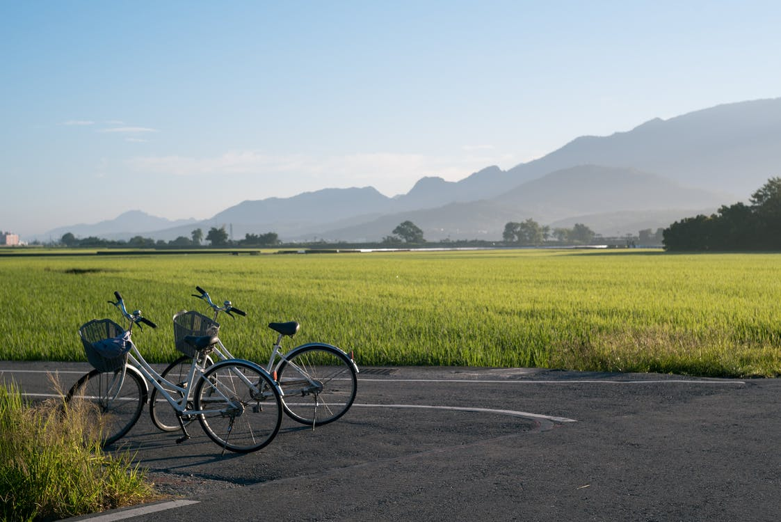 Two Gray Bicycles Parks on Road Beside Grass Field