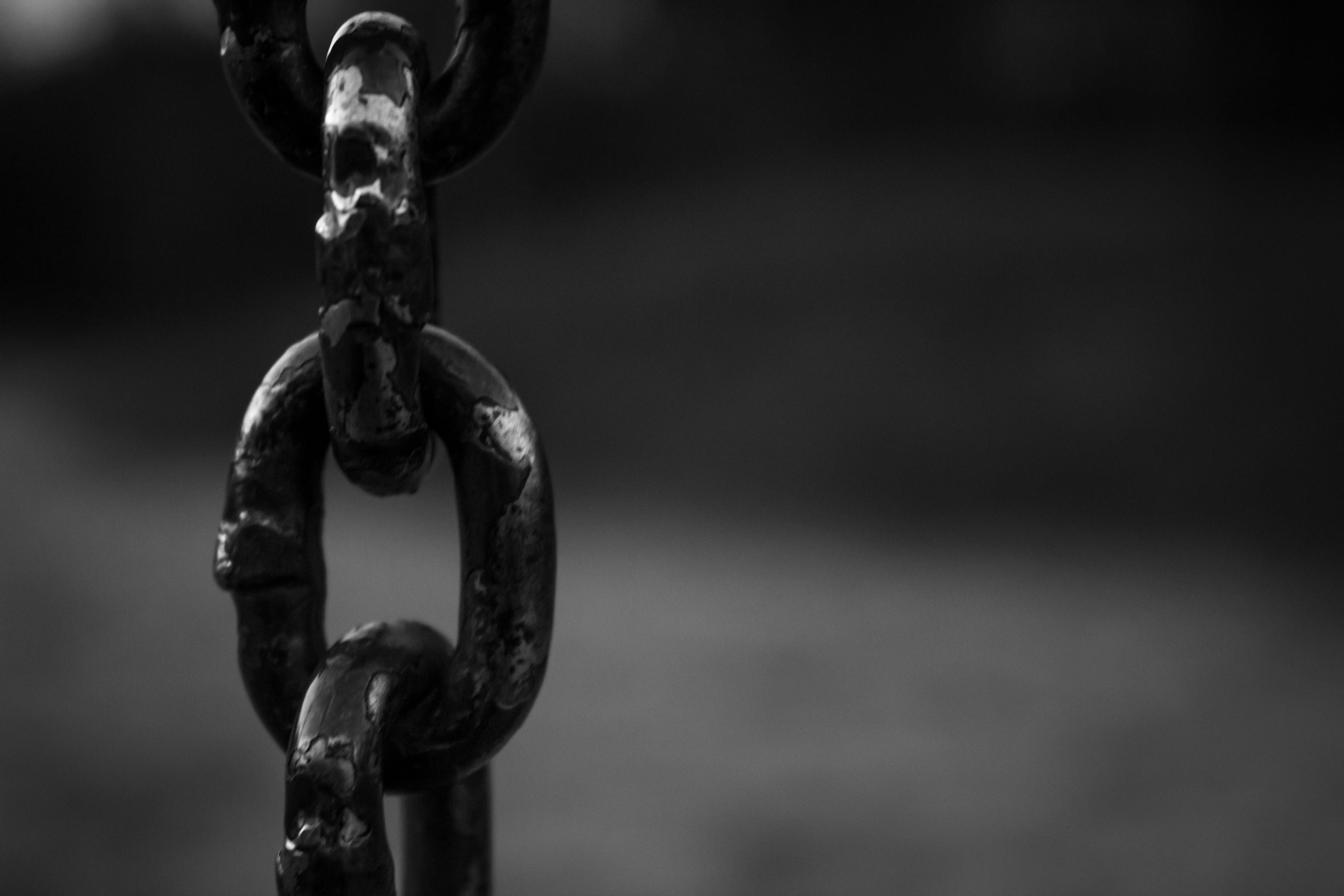 Základová fotografie zdarma na téma černobílý, ocel, otroctví, řetěz