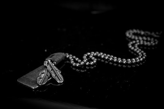 Silver Dog Tag Necklace on Black Background