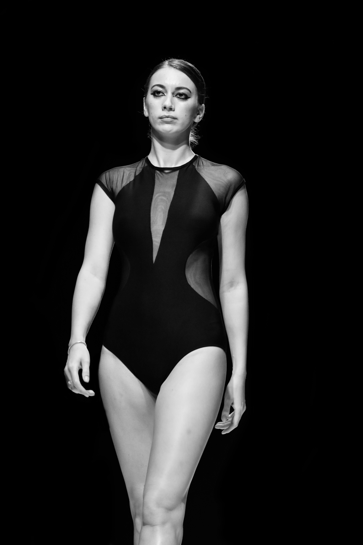 Monochrome Photo of Woman Wearing Swimsuit