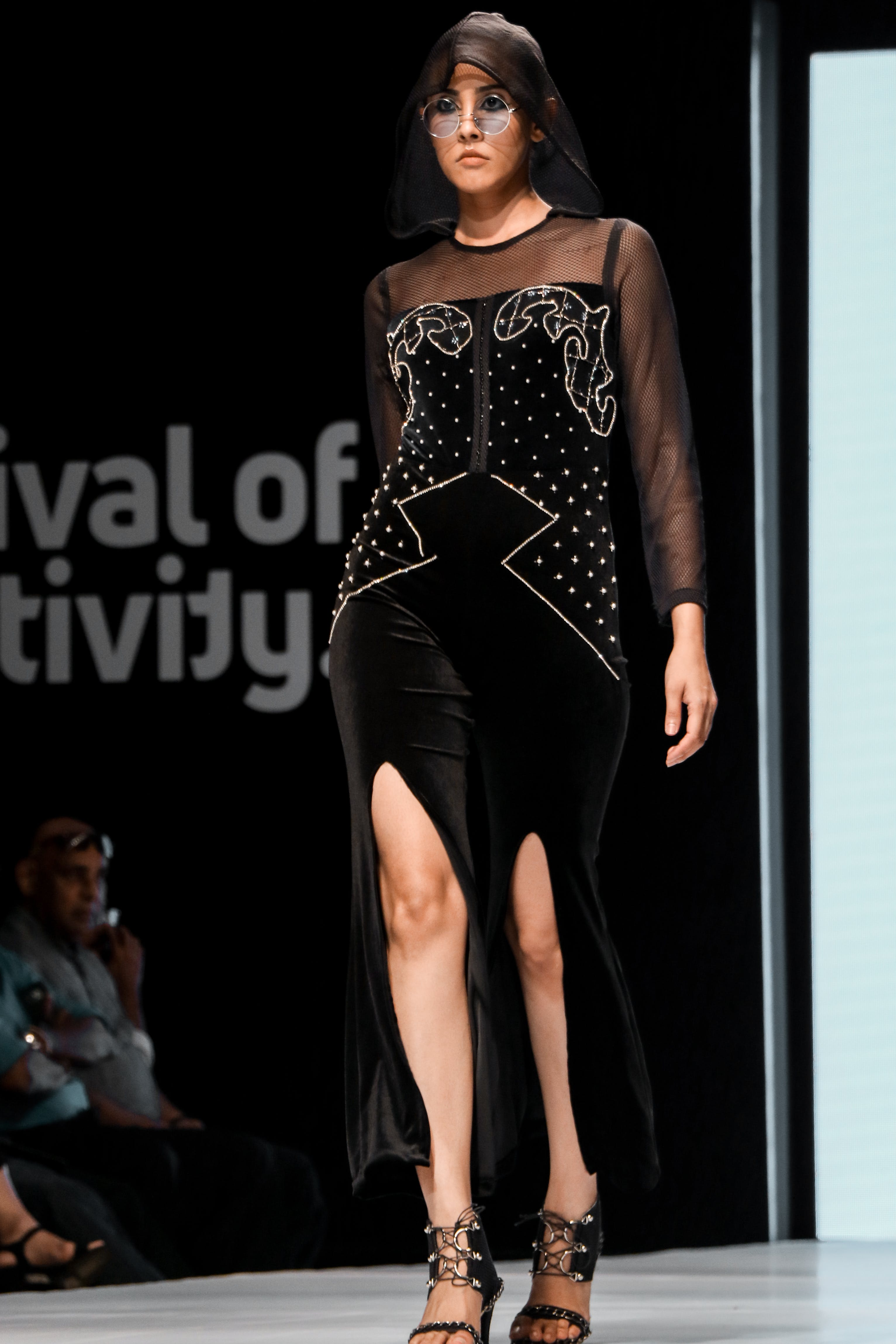 Photo of Runway Model Modelling a Black Outfit