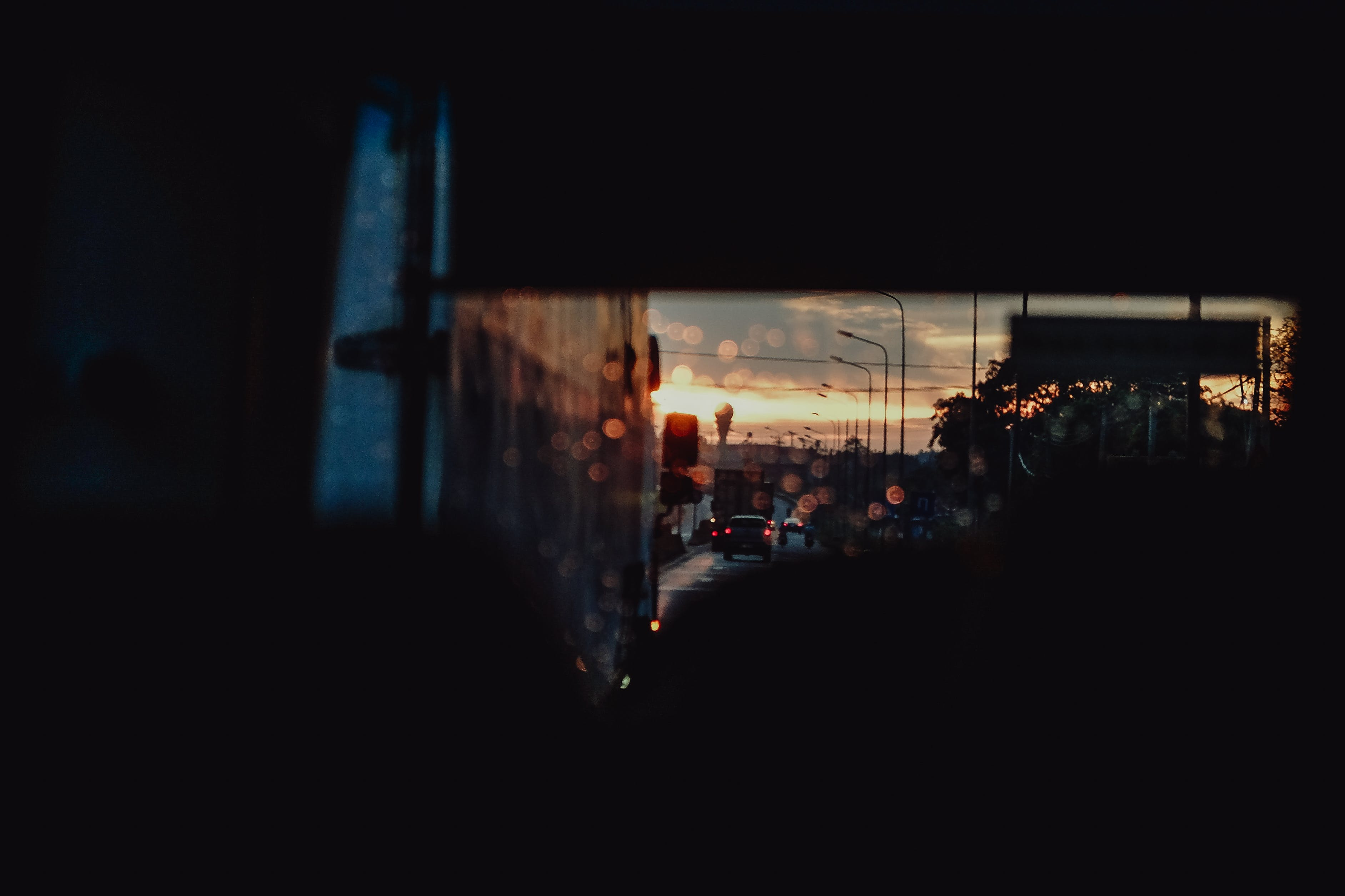 Free stock photo of road, sunset, car, windshield