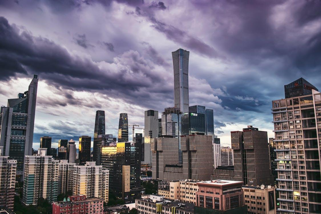 arquitetura, arranha-céus, centro da cidade