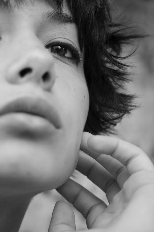 ansigtsudtryk, close-up, hår