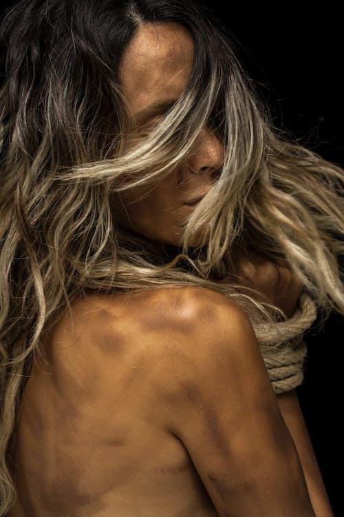 bundet, hår, hud