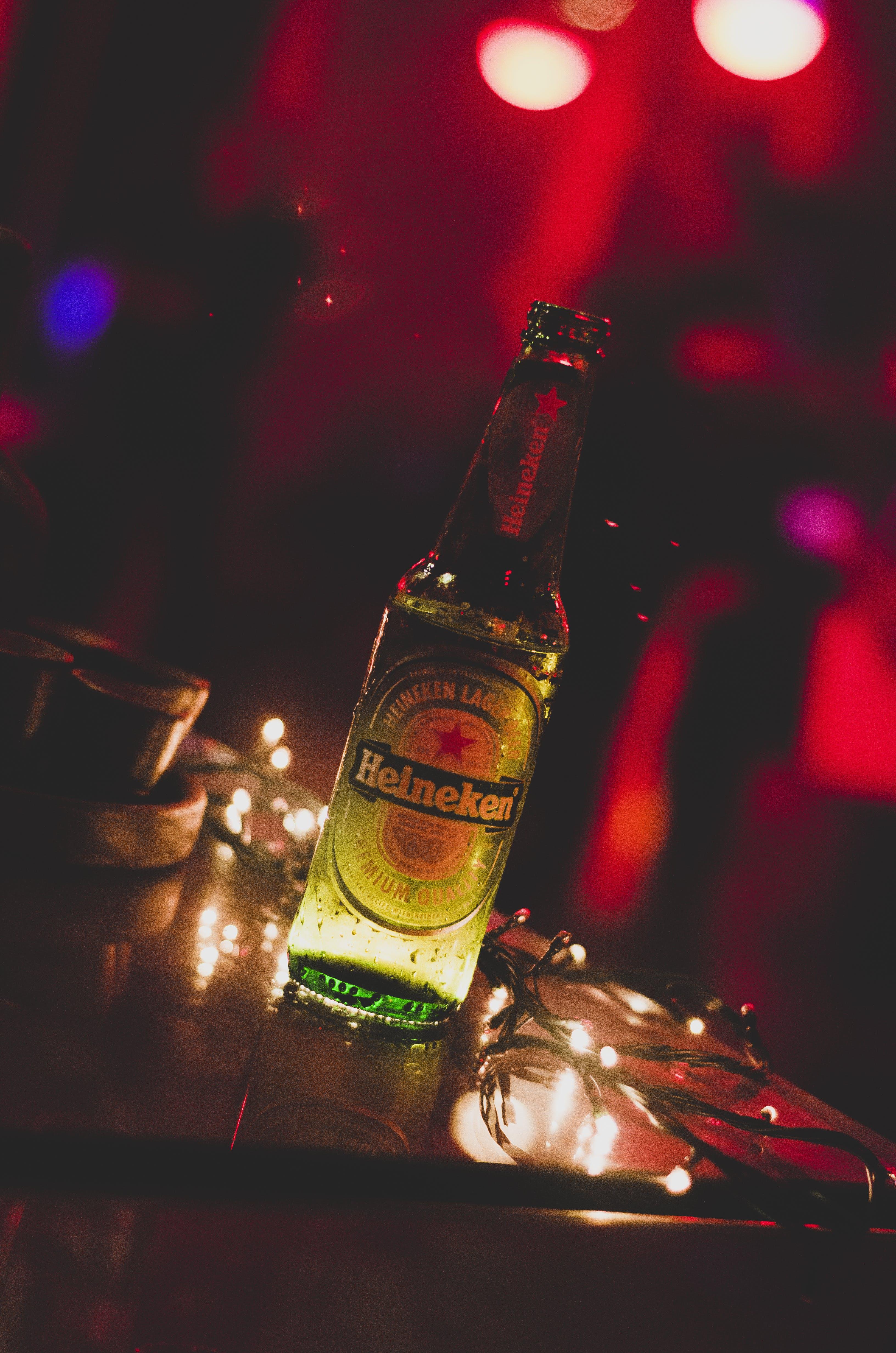 Close-Up Photo Of Heineken Bottle