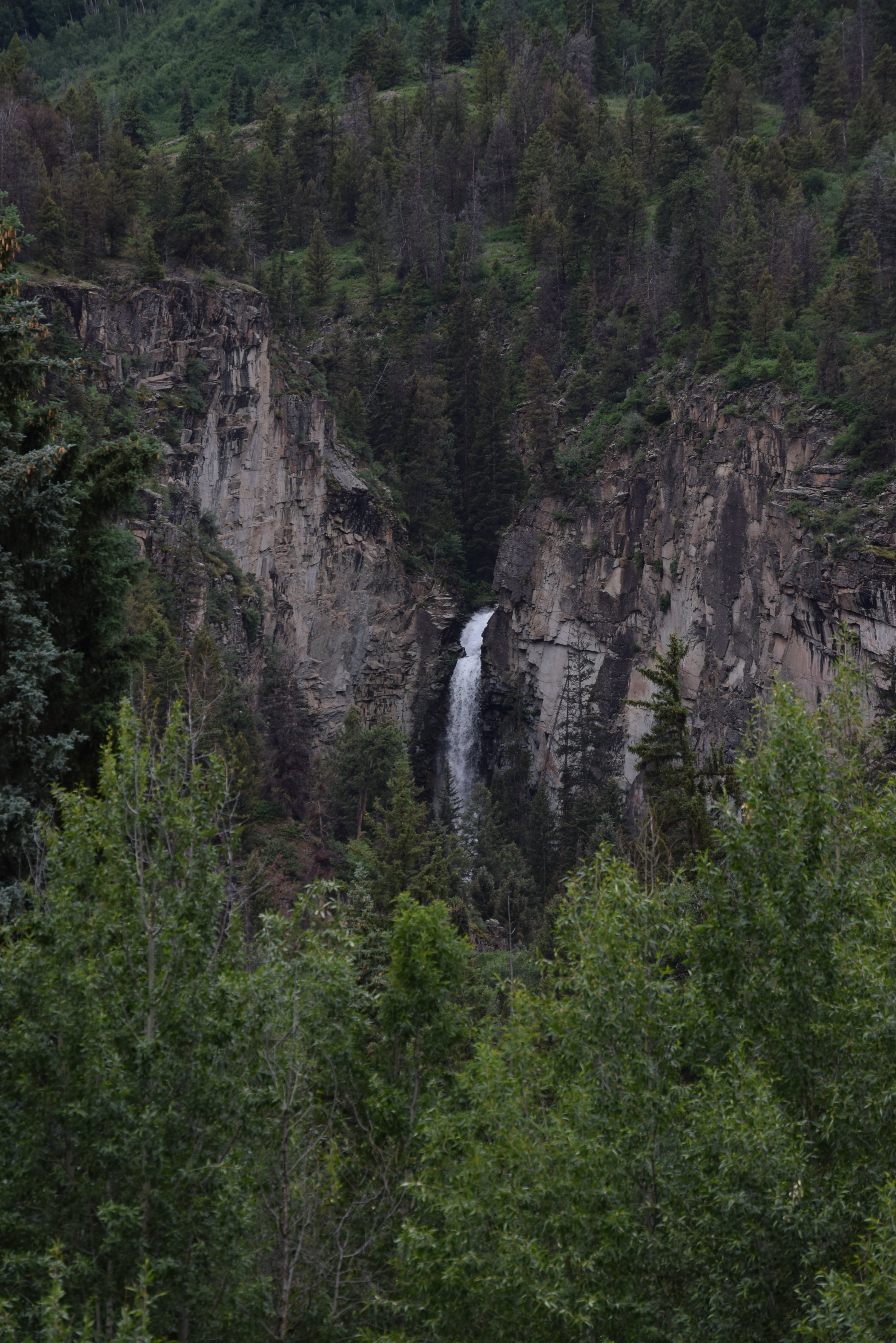 Waterfalls in Middle of Mountain
