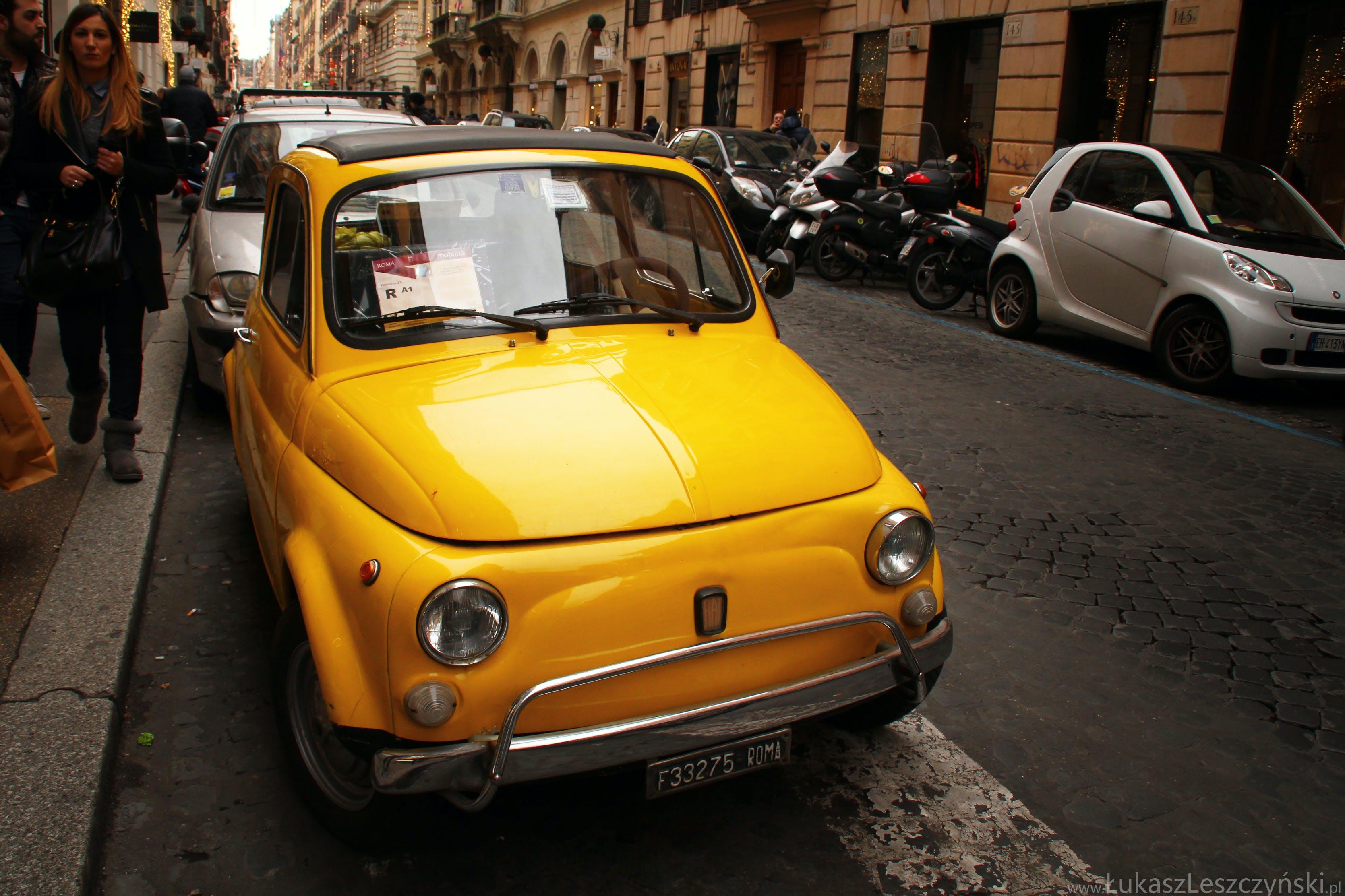 Free stock photo of Yellow Fiat