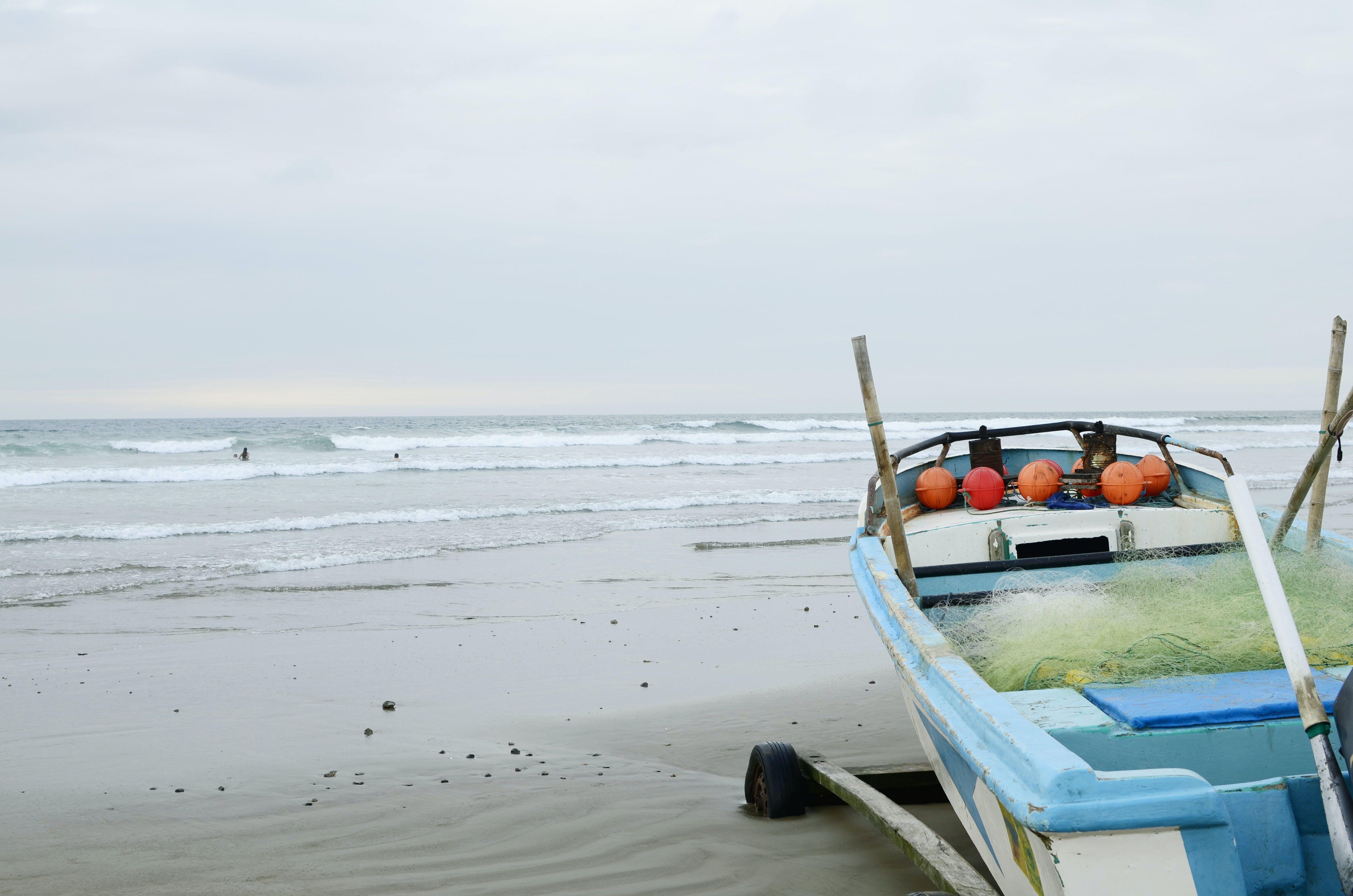 Free stock photo of beach boat waves ecuador