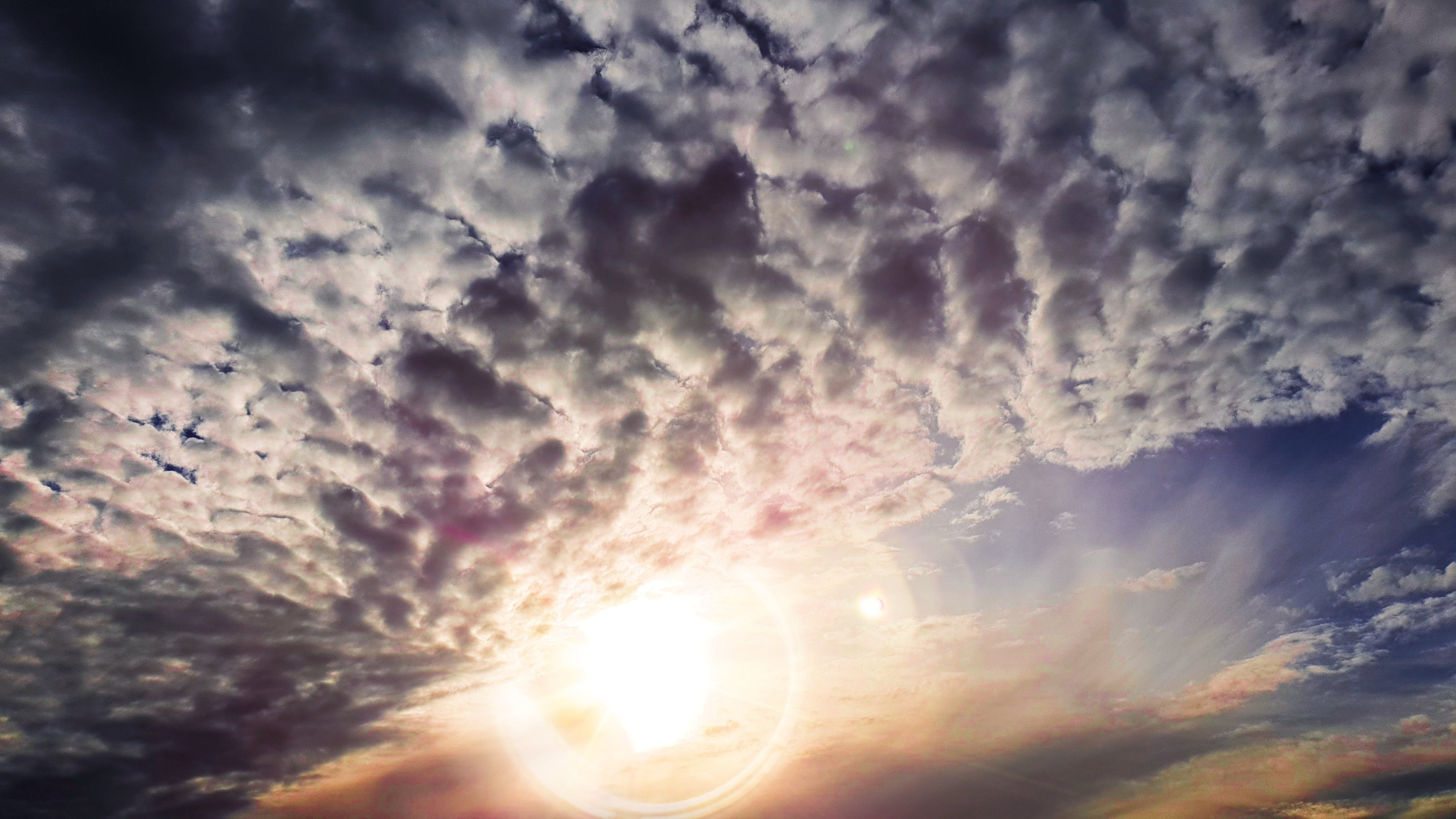 Free stock photo of sunset, clouds, cloudy, lens flare