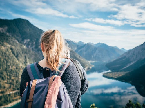 Woman Looking Onto Mountain