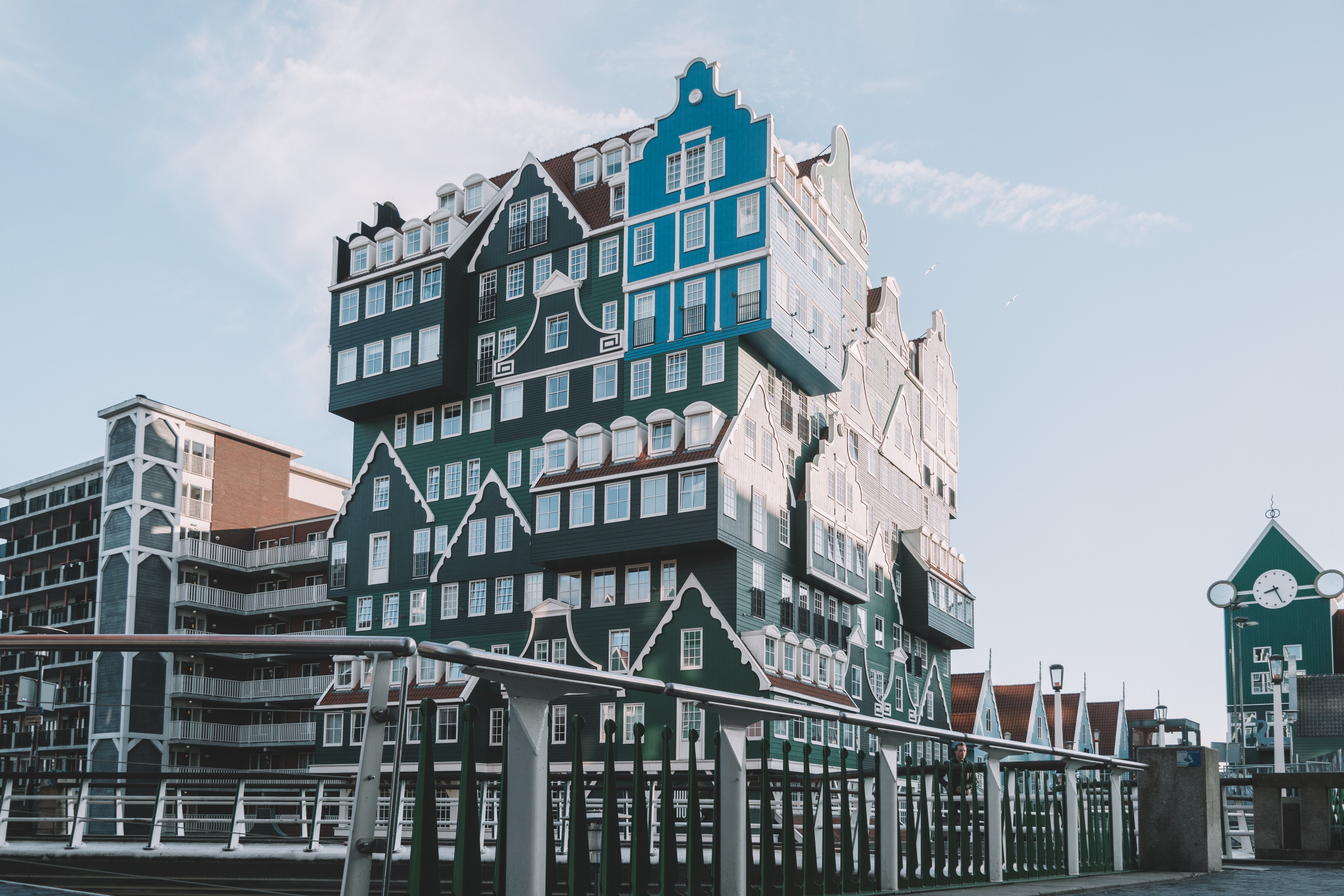 Green and Blue Multi-story Building