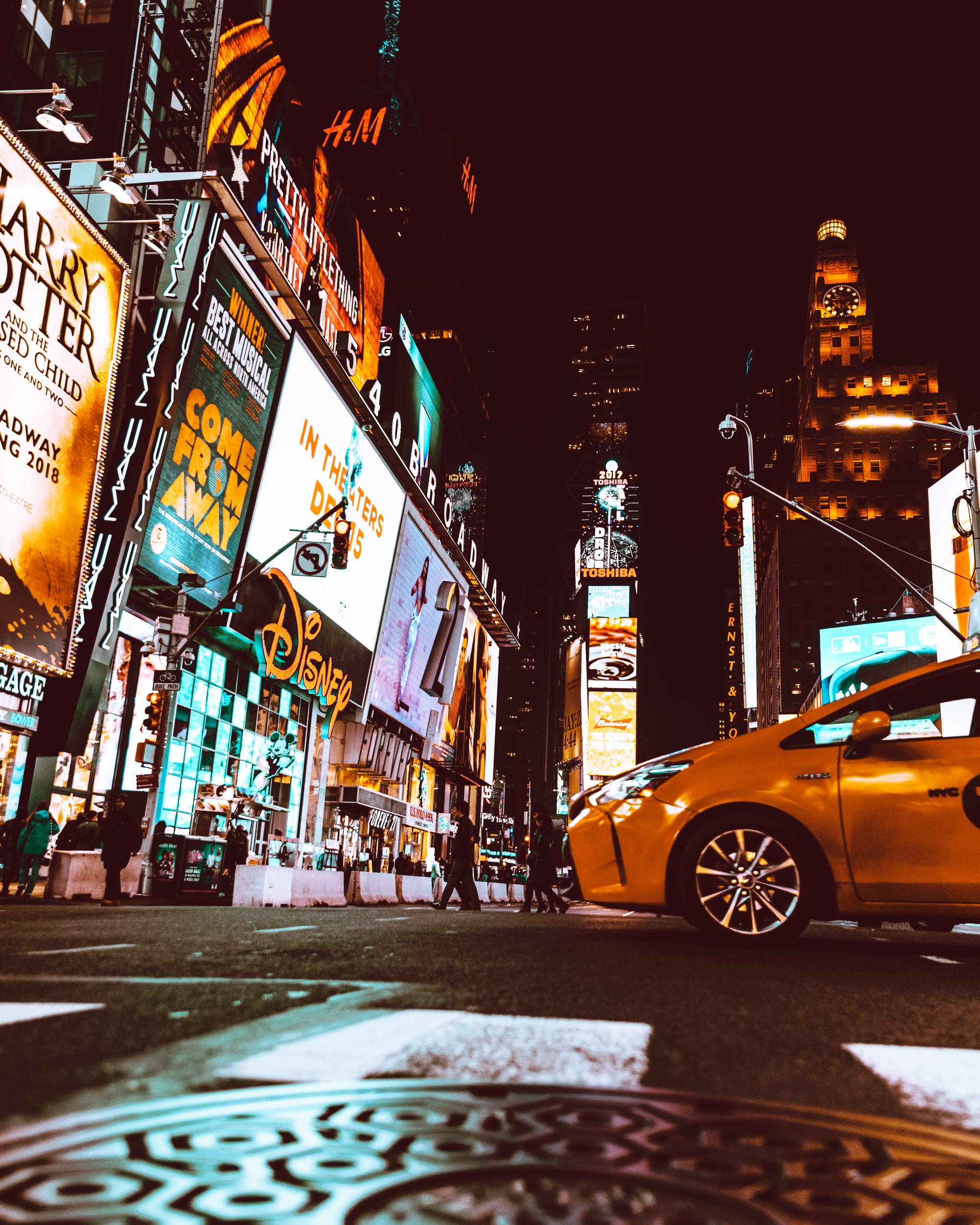 Yellow Taxi in the Middle of New York Times Square