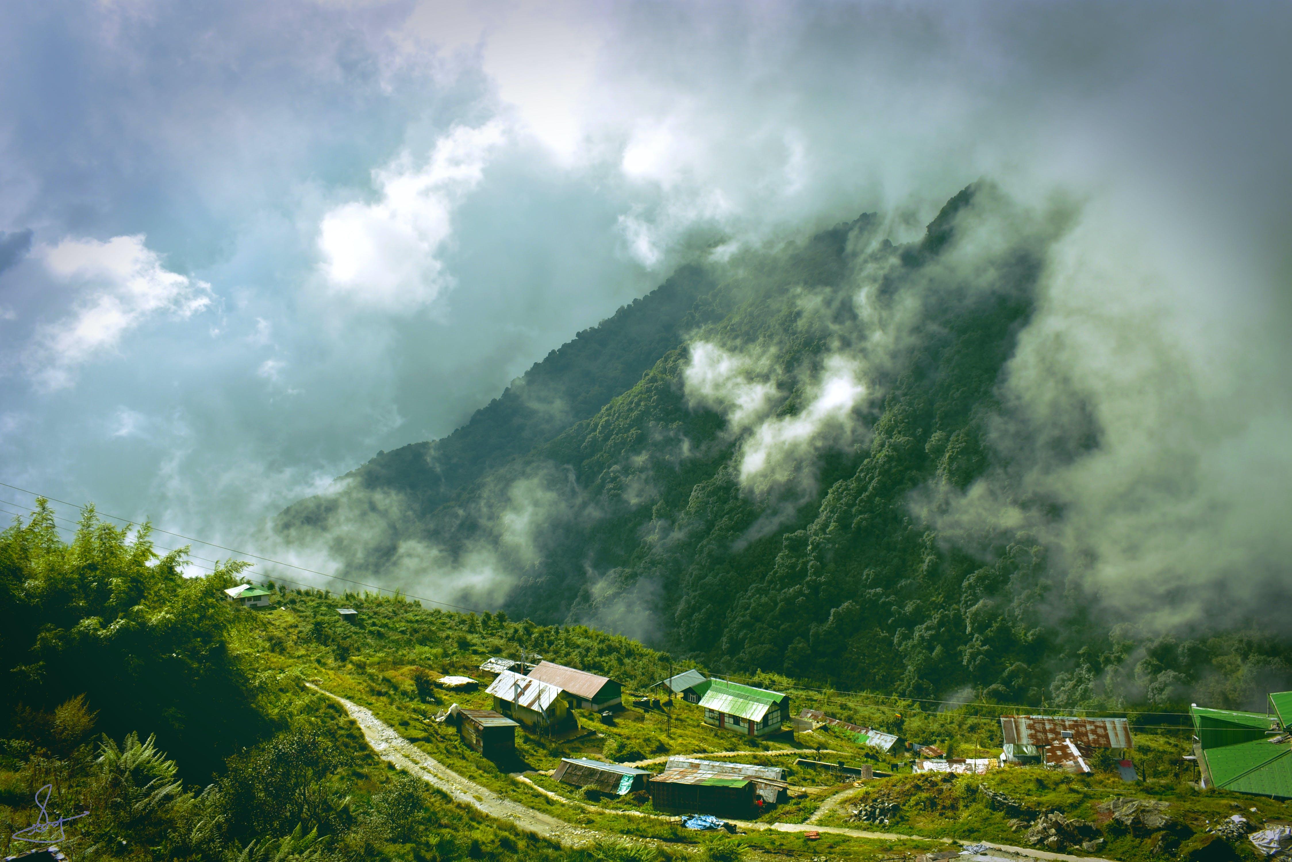 Bird's Eye View Photo of Houses on Mountain