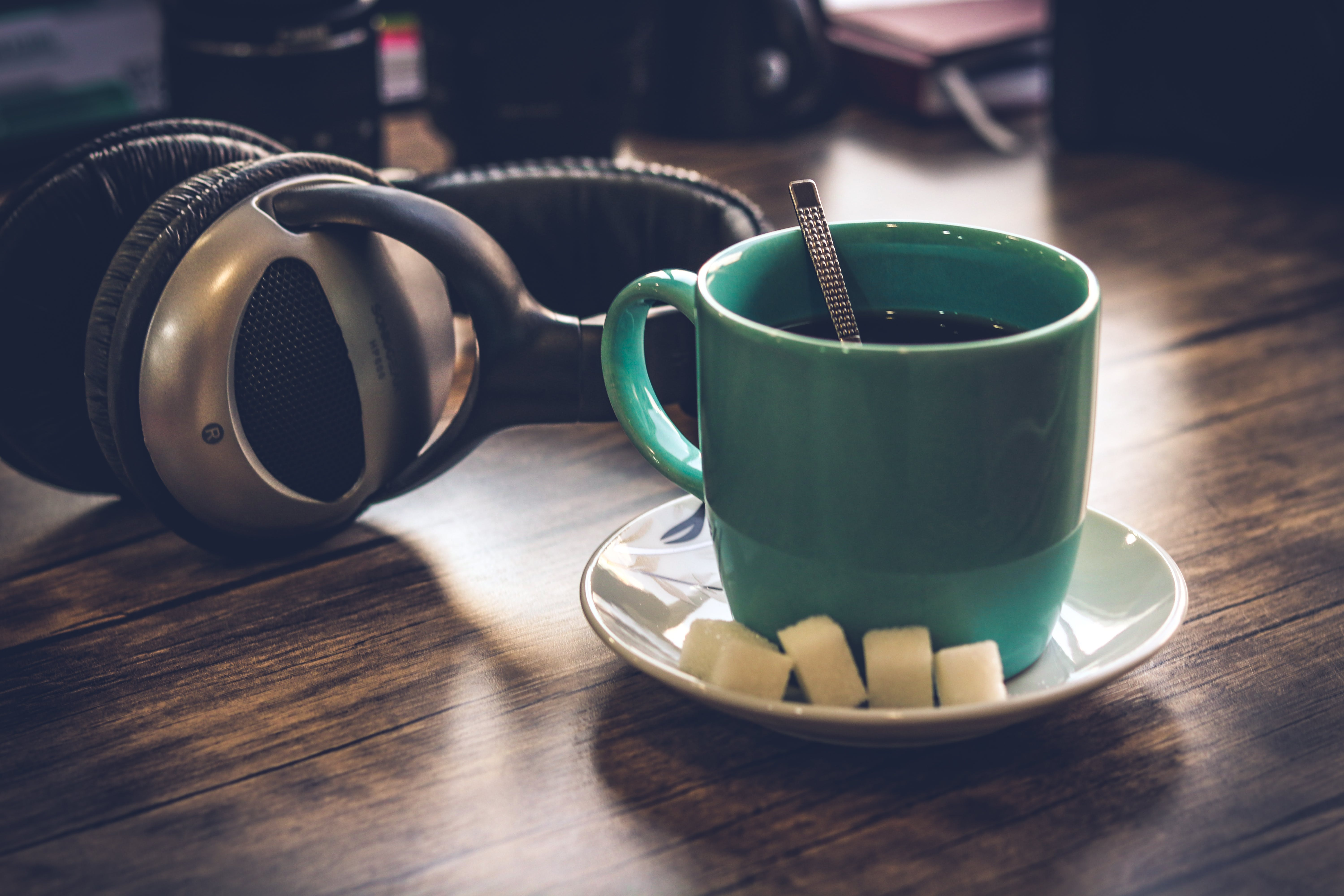 Green Cup Filled With Coffee