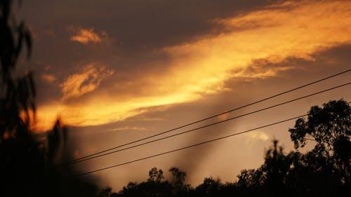 คลังภาพถ่ายฟรี ของ ตะวันลับฟ้า, ท้องฟ้า, มืดครึ้ม, สายไฟ