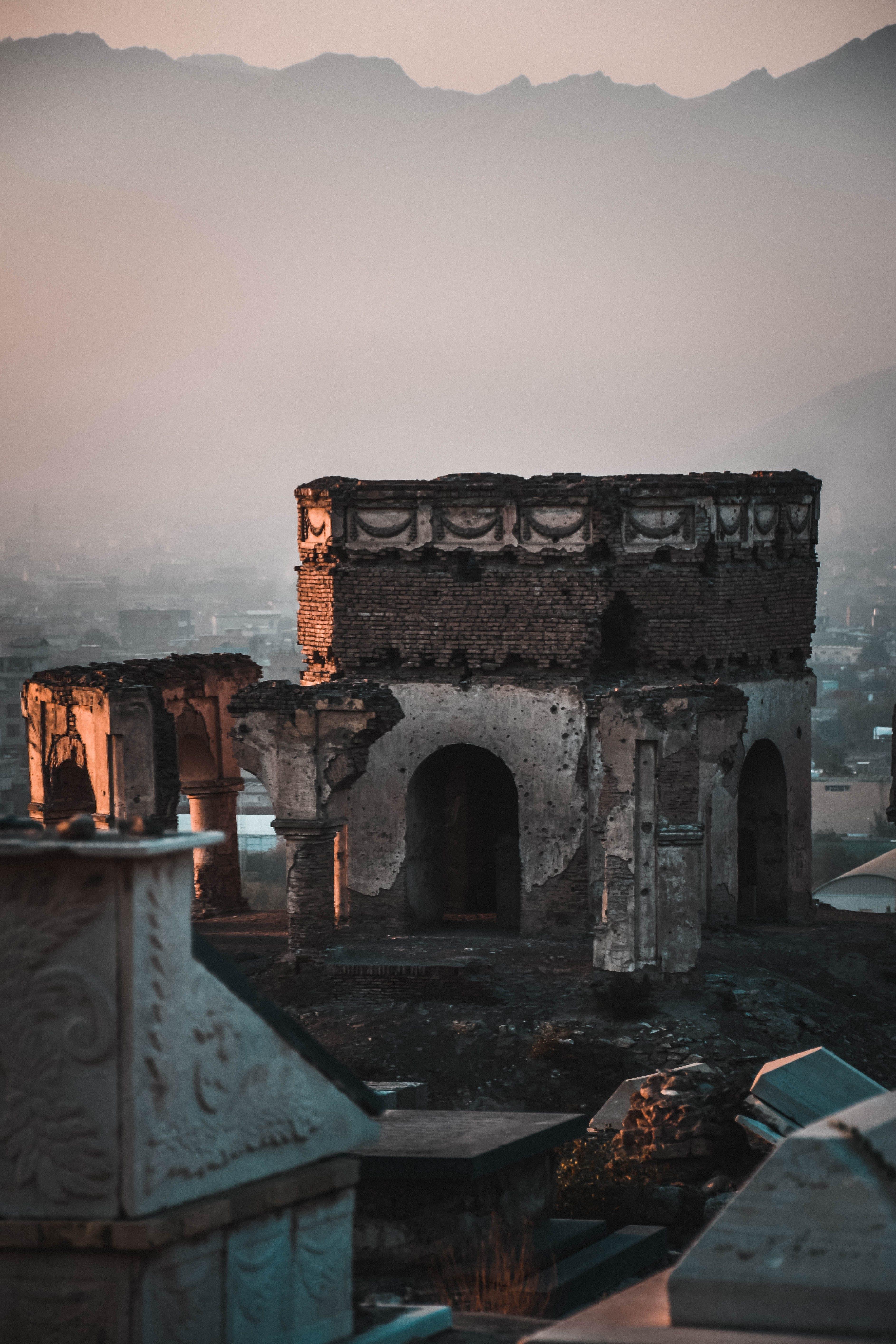 Concrete Ruins Near Mountain Range