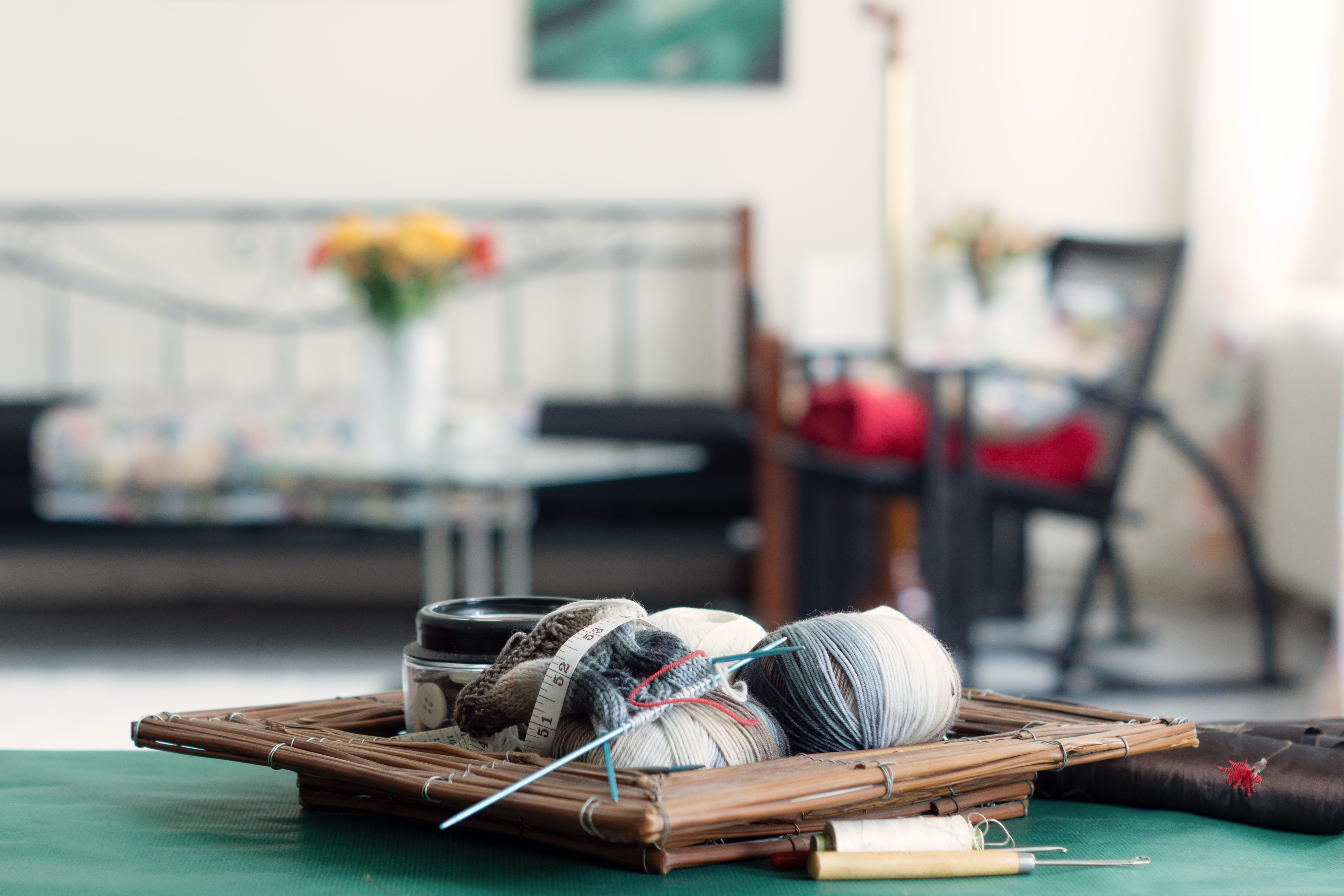 Selective-focus Photography of Yarn on Table