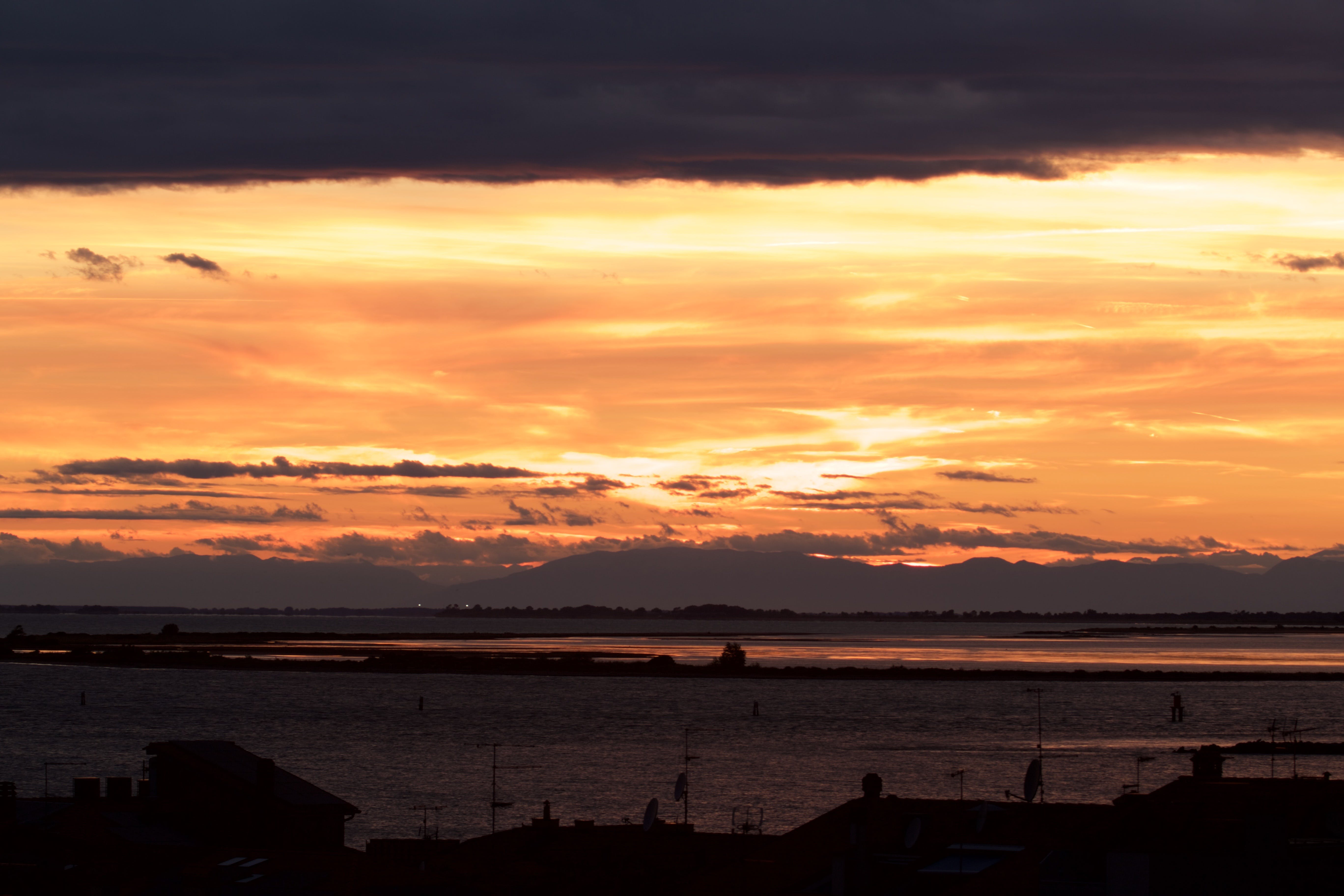 adriatic sea, clouds, golden sun