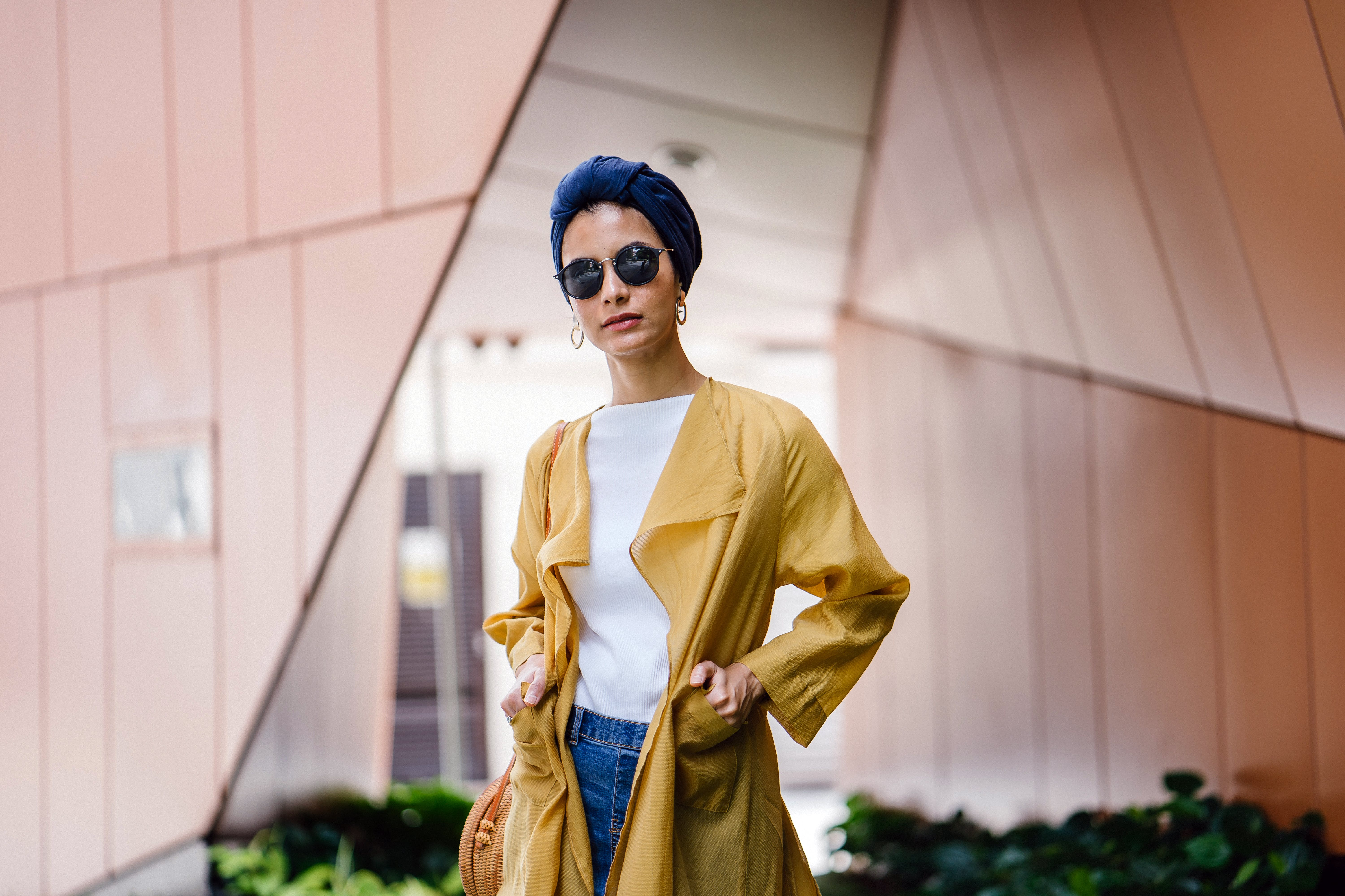 Stylish Woman Posing in Yellow Coat