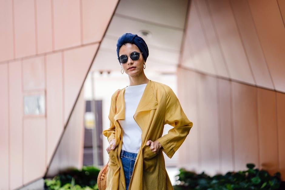 Stylish woman in yellow coat