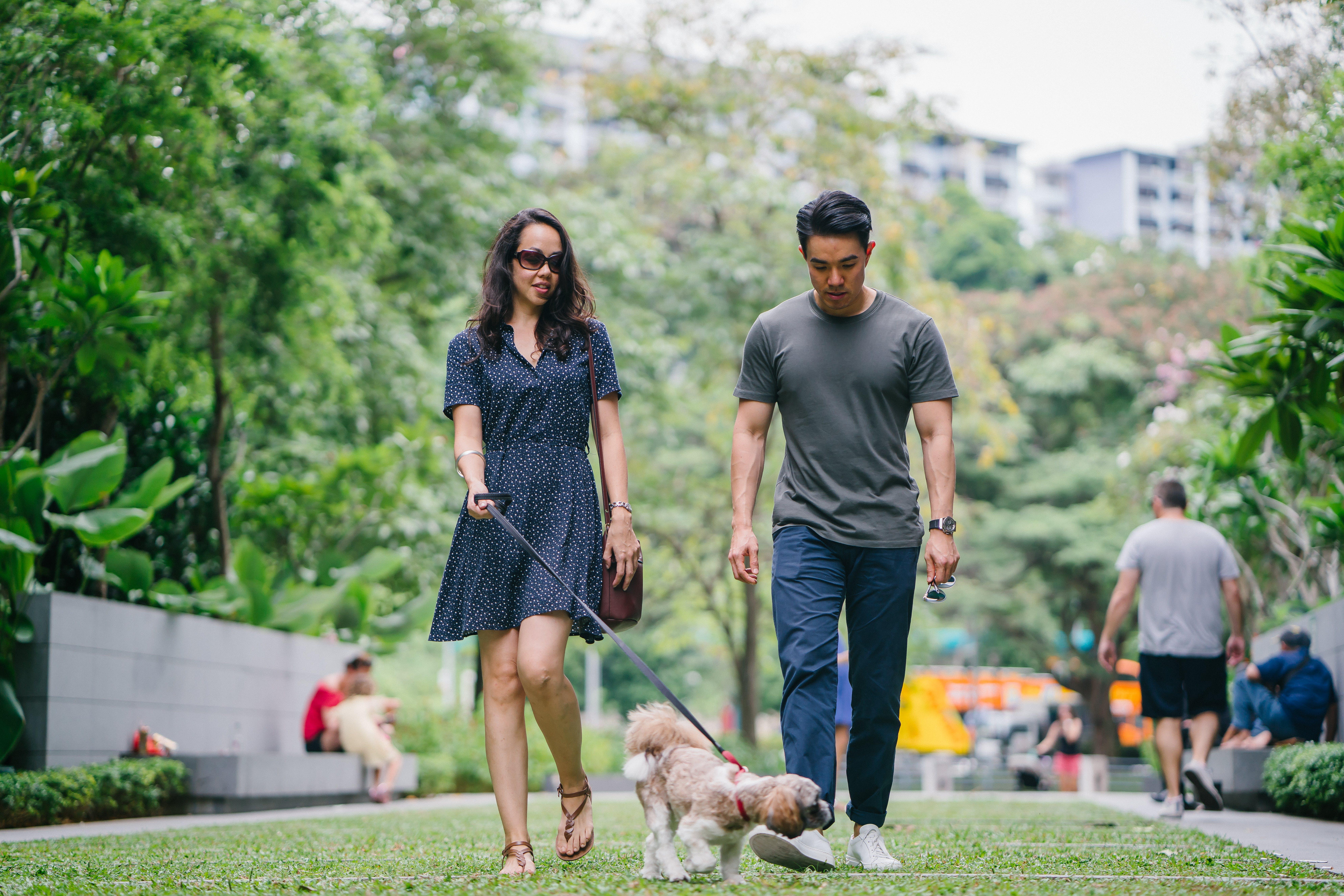 Man in Gray Crew-neck T-shirt Walking Beside Woman in Black V-neck Dress