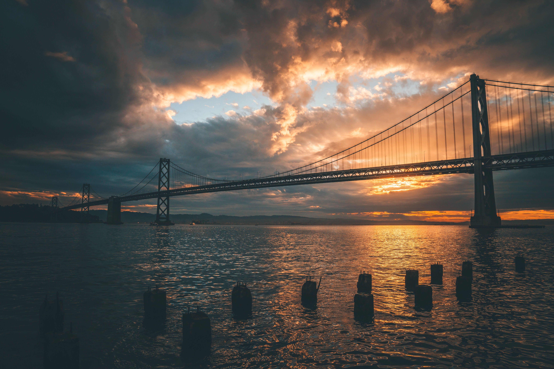 Silhouette of Golden Gate Bridge during Golden Hour