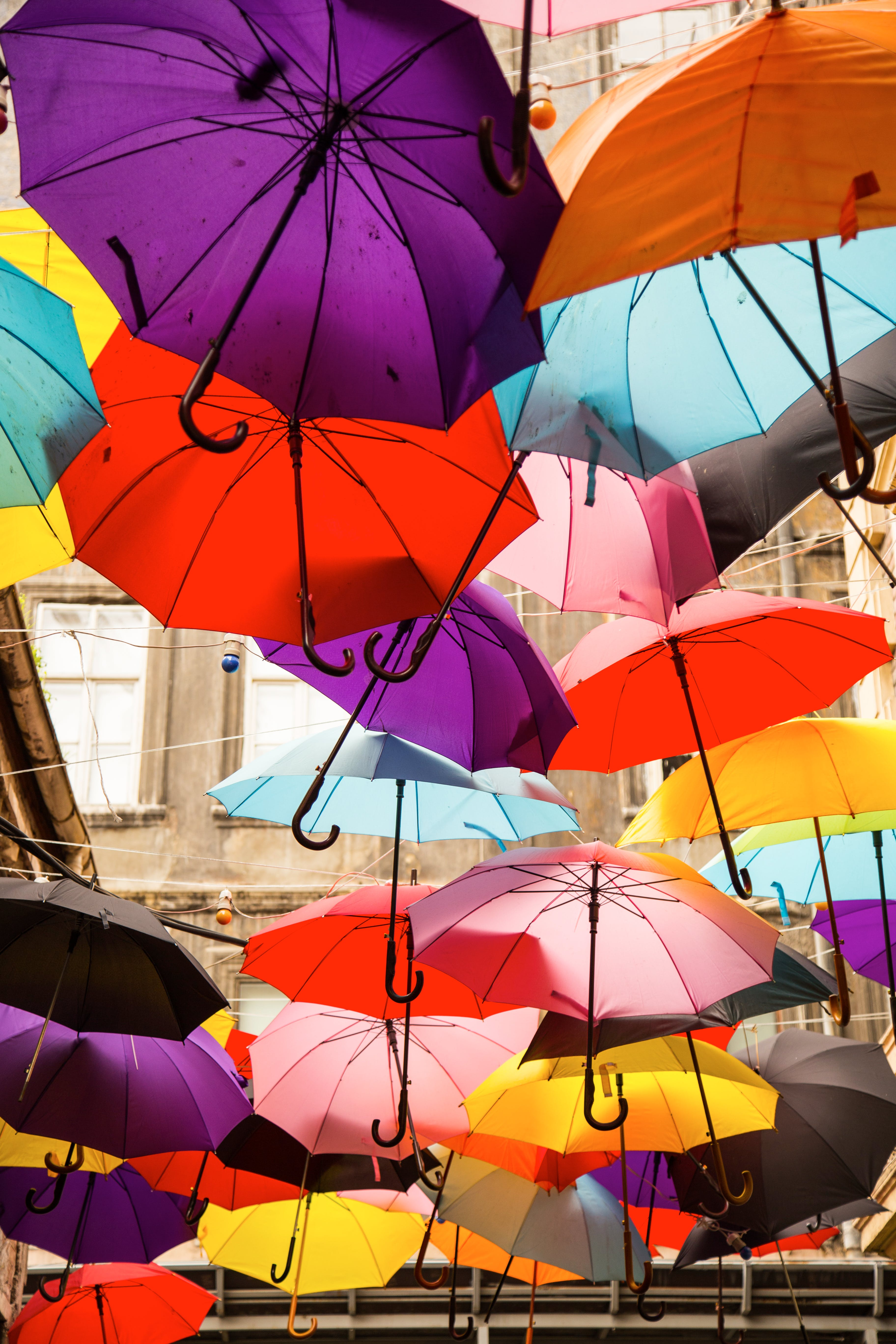 Assorted-color Hanging Umbrellas