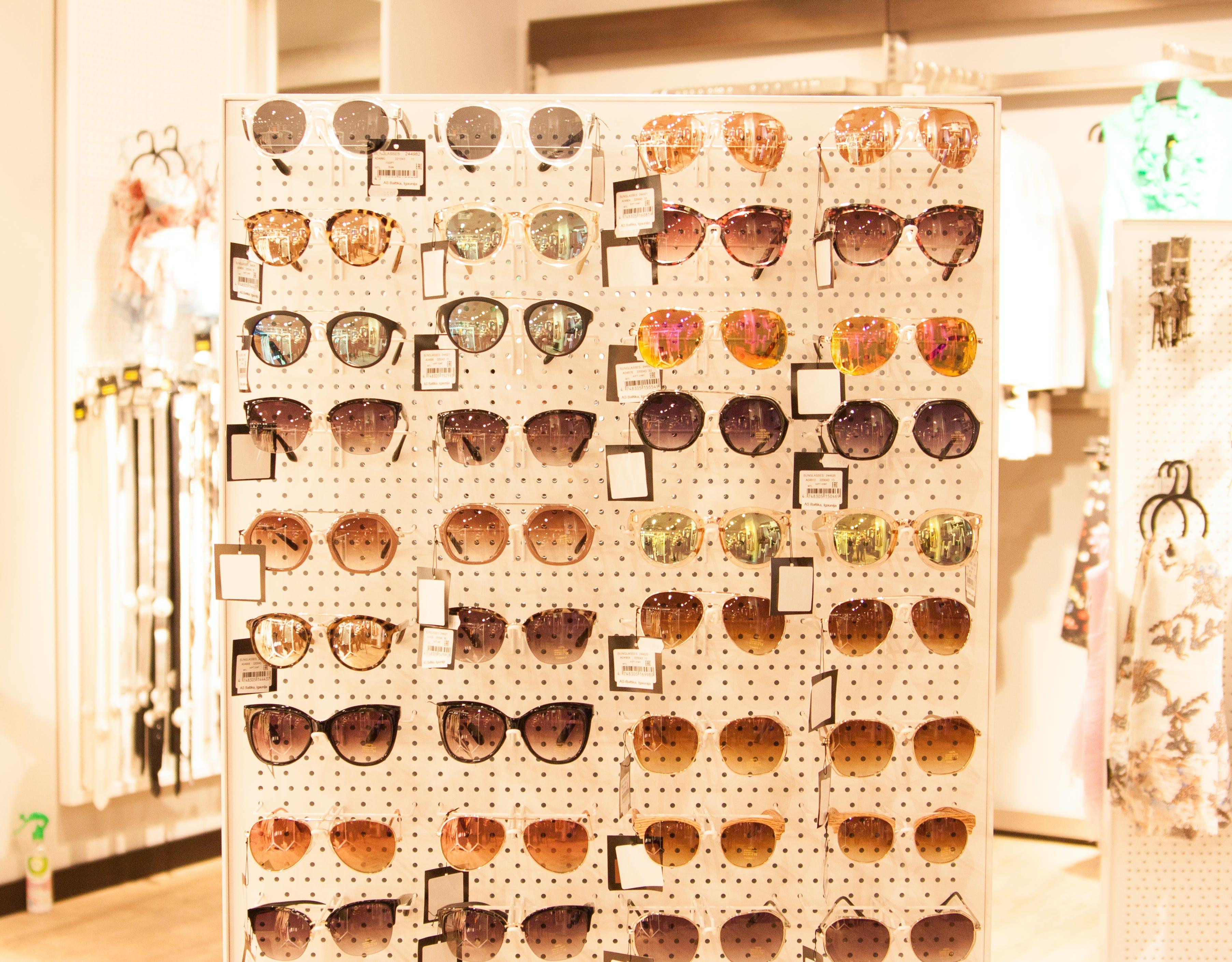 Free stock photo of colorful sunglasses, sunglasses holder