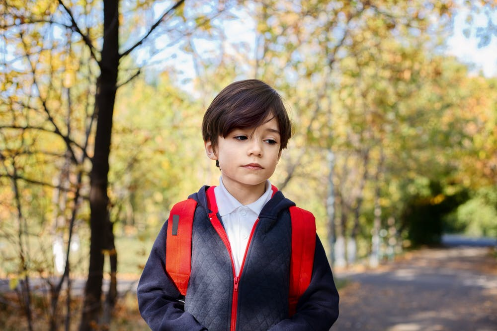 A young boy stands somber in a park.   Photo: Pexels