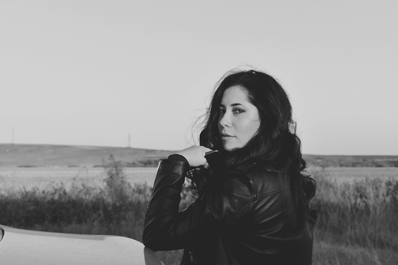 Woman Wearing Jacket Grayscale Photo