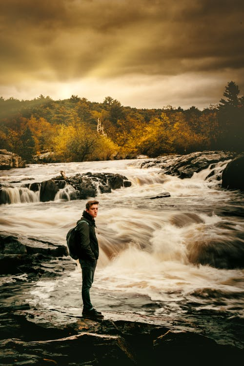 冒険, 滝, 肖像画の無料の写真素材